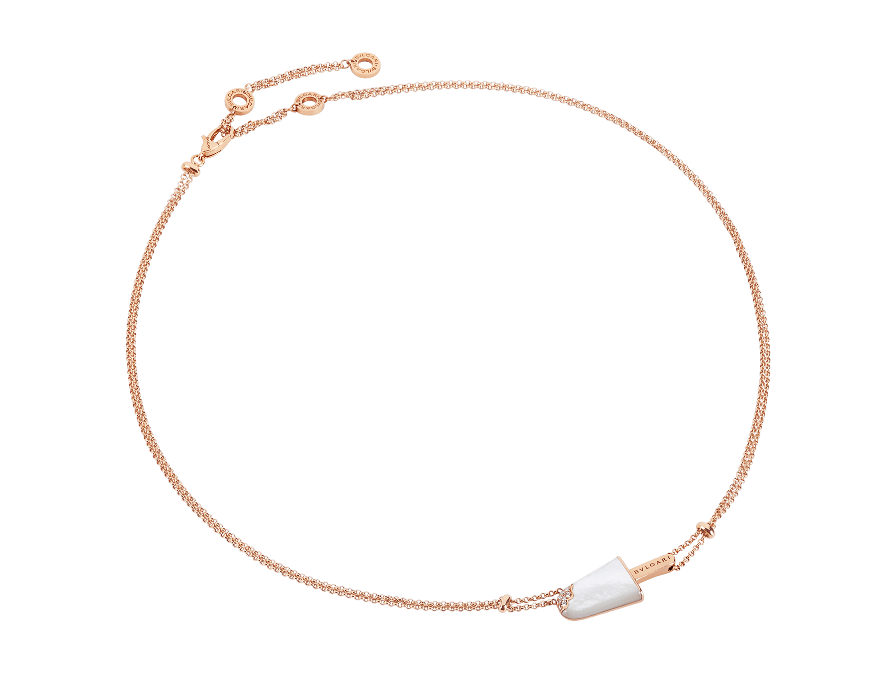 BVLGARI BVLGARI Gelati 18 kt rose gold necklace set with mother-of-pearl and pavé diamonds 356132 image 1