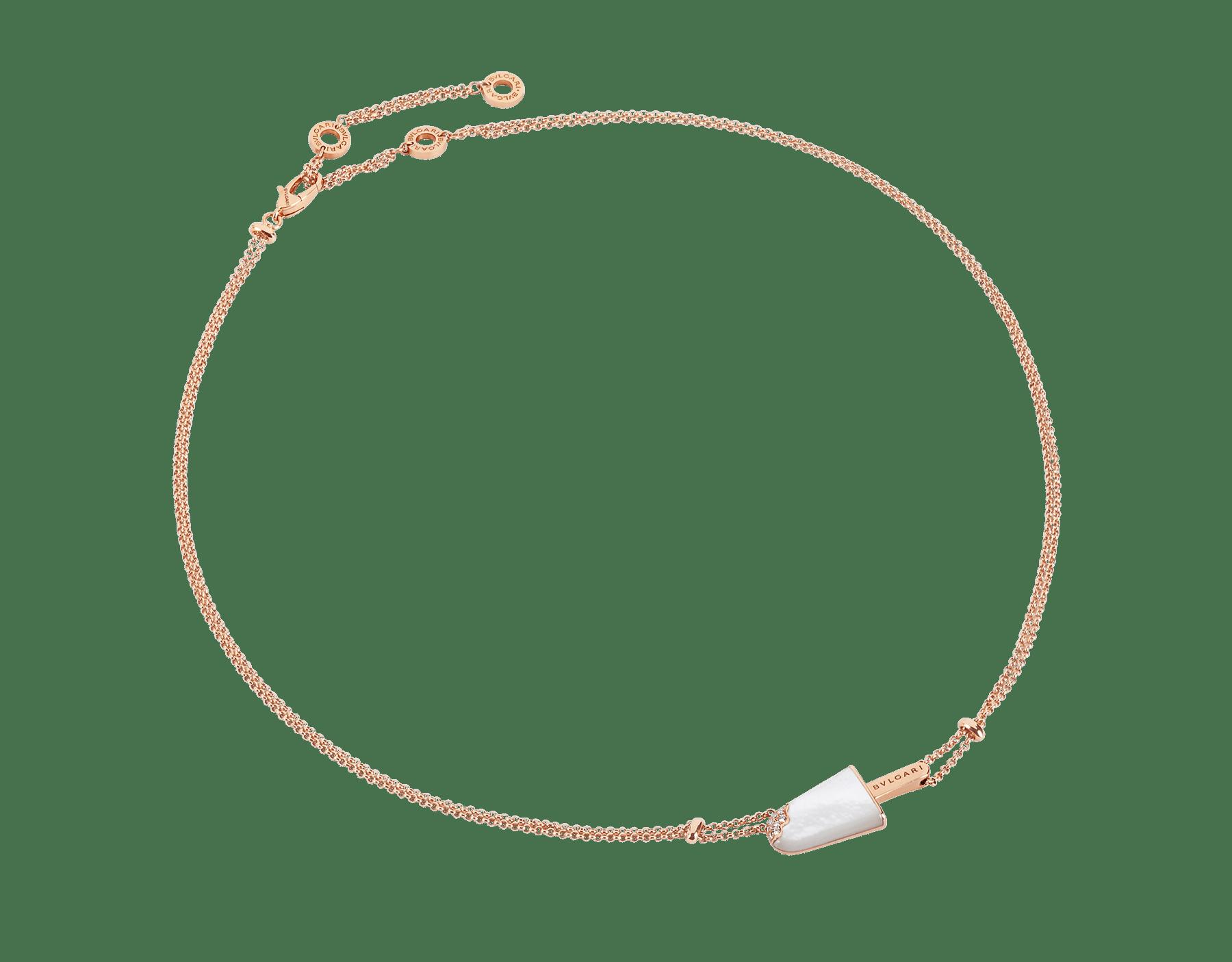 Colar BVLGARIBVLGARI Gelati em ouro rosa 18K cravejado com madrepérola e pavê de diamantes 356132 image 1