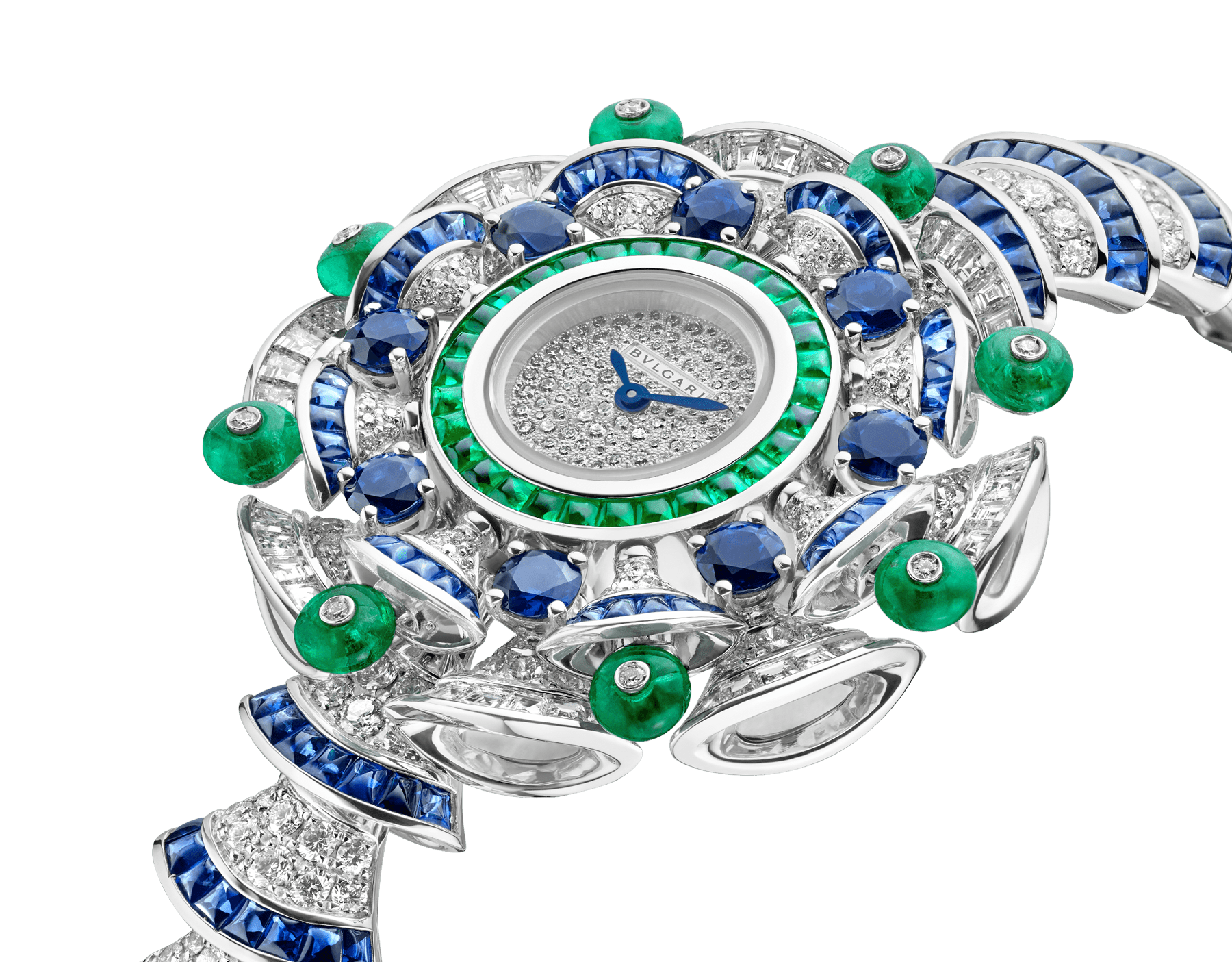 DIVAS' DREAM watch with 18 kt white gold case set with baguette and brilliant-cut diamonds, round and buff-cut sapphires, buff-cut emeralds and emeralds beads, snow pavé dial, 18 kt white gold bracelet set with brilliant-cut diamonds and buff-cut sapphires 102220 image 2