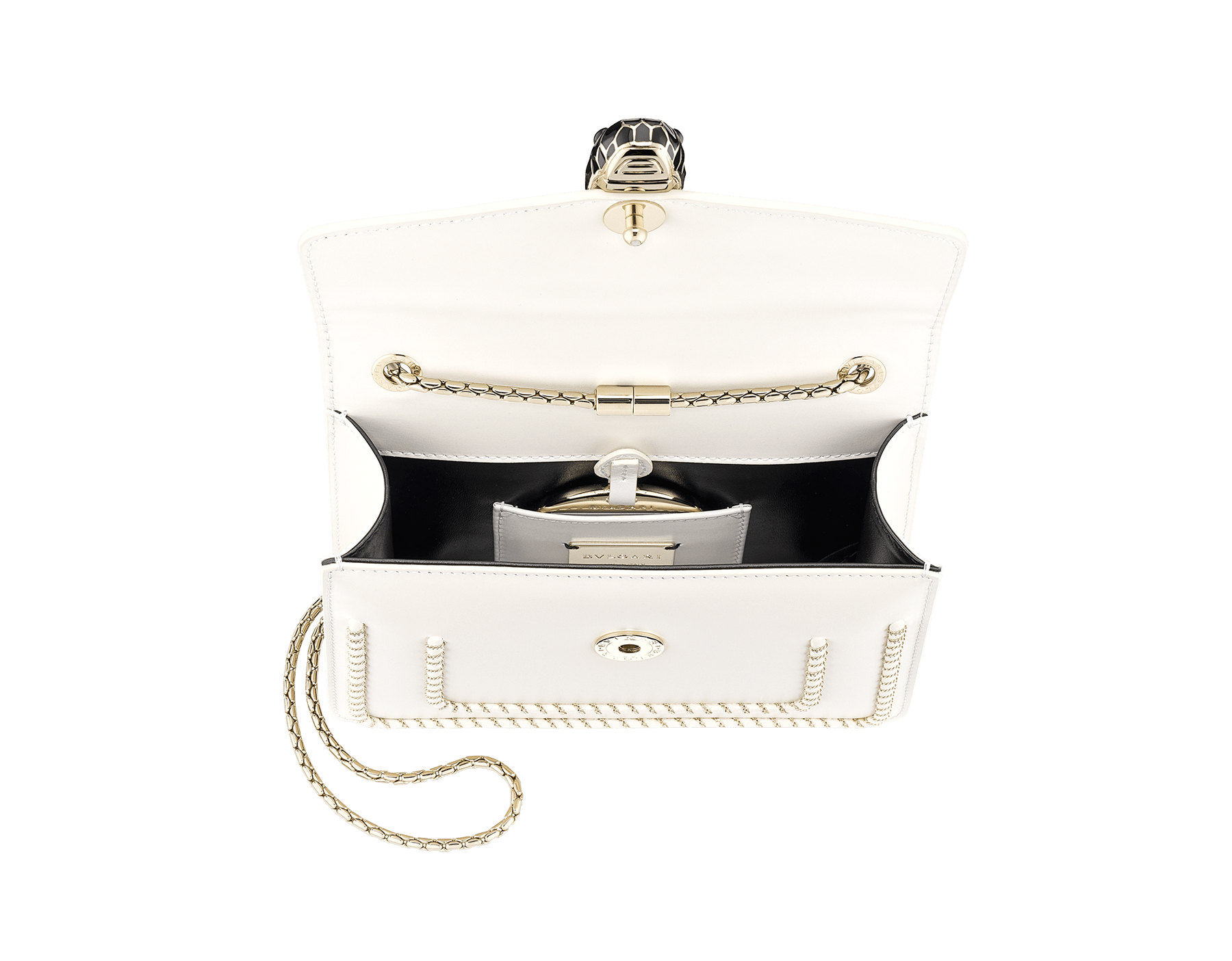 """""""Serpenti Forever"""" crossbody bag in black calf leather, featuring a Woven Chain motif. Iconic snakehead closure in light gold plated brass enriched with shiny black enamel and black onyx eyes 422-WC image 4"""