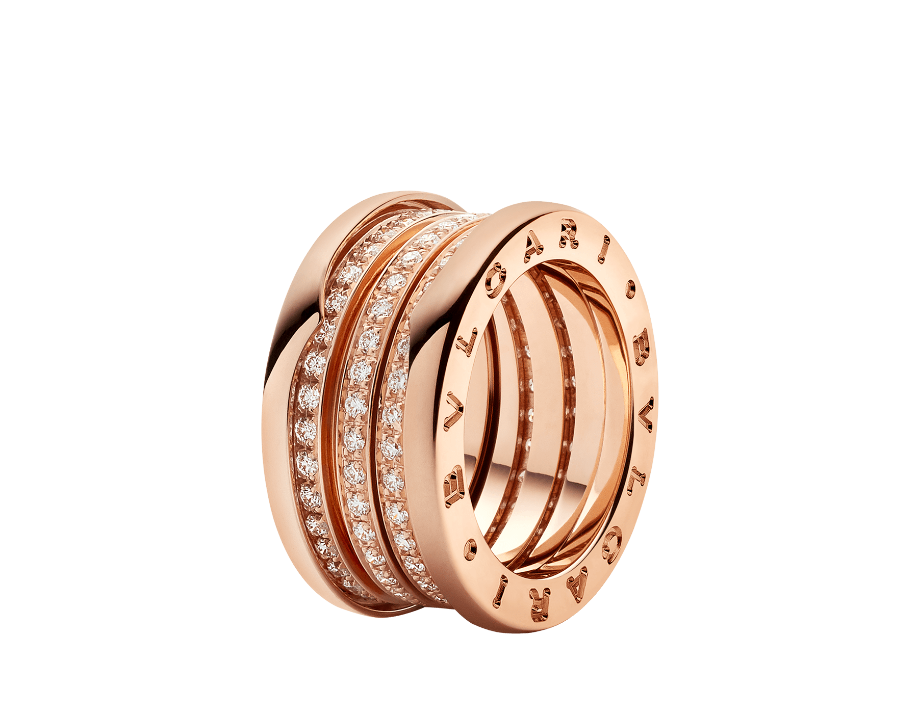 B.zero1 four-band ring in 18kt rose gold, set with pavé diamonds on the spiral. B-zero1-4-bands-AN857022 image 1