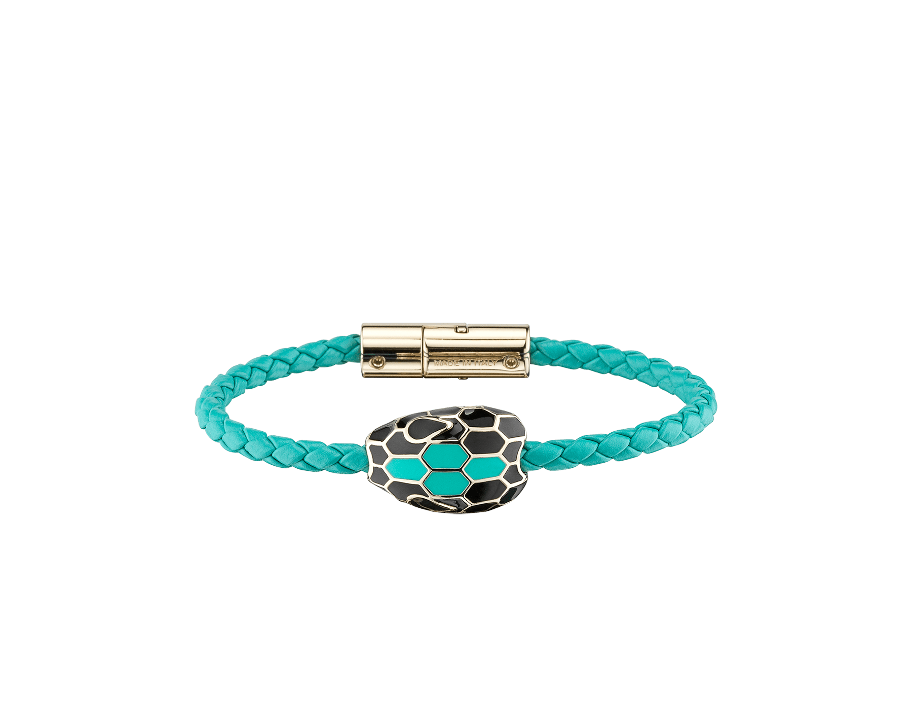 Serpenti Forever braid bracelet in arctic jade woven calf leather with an iconic snakehead décor in black and arctic jade enamel. SerpBraid-WCL-AJ image 1