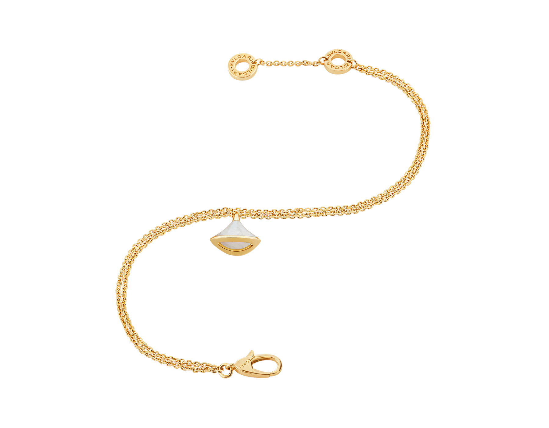 DIVAS' DREAM 18 kt yellow gold bracelet with pendant set with a mother-of-pearl element BR858988 image 3