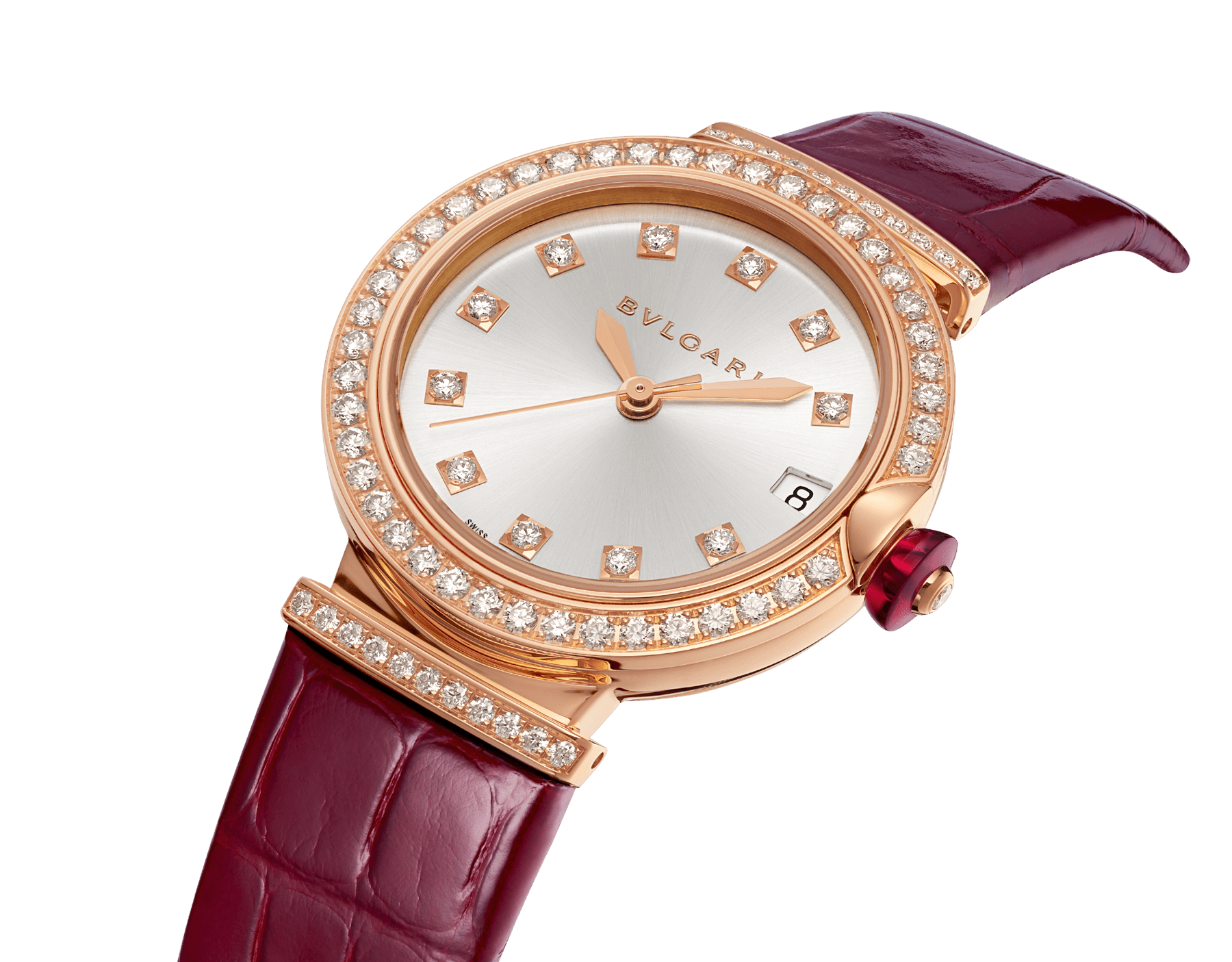 LVCEA watch with 18 kt rose gold and brilliant-cut diamond case, silver satiné soleil dial, diamond indexes and bordeaux alligator bracelet. 102329 image 2