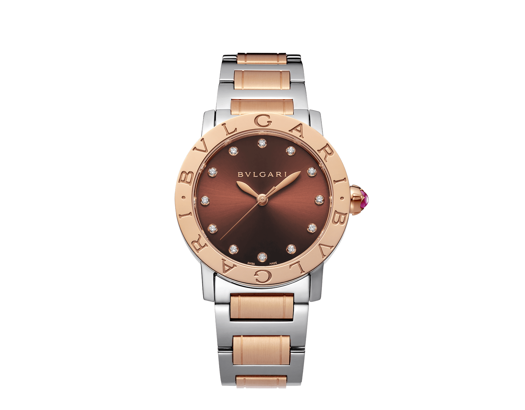 BVLGARI BVLGARI watch in stainless steel and 18 kt rose gold case and bracelet, with brown soleil lacquered dial and diamond indexes. Medium model 102157 image 1