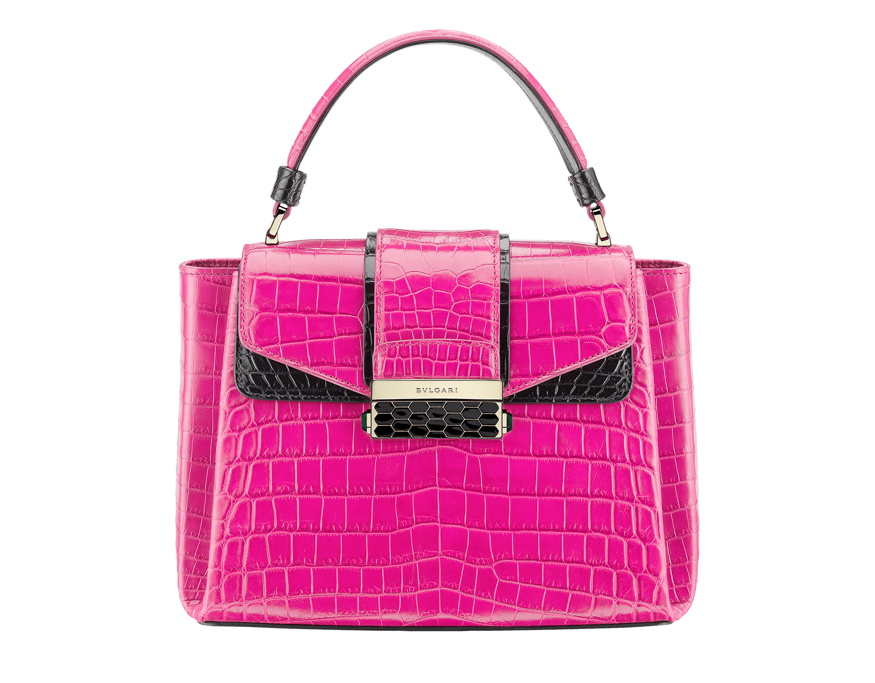 Top handle bag Serpenti Viper in pink spinel and black shiny crocodile skin. 283336 image 1
