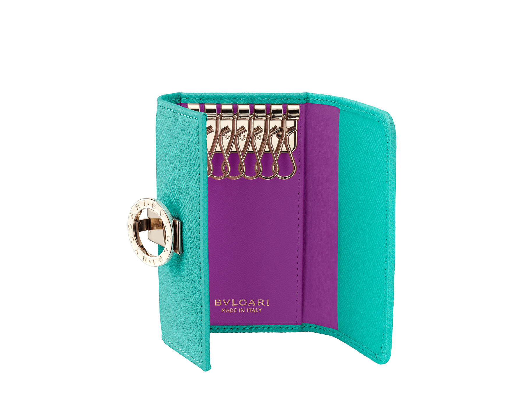 """""""BVLGARI BVLGARI"""" small key holder in Capri turquoise bright grain calf leather and black nappa leather. Iconic logo clip closure in light gold plated brass. 579-KEYHOLDER-Sb image 2"""