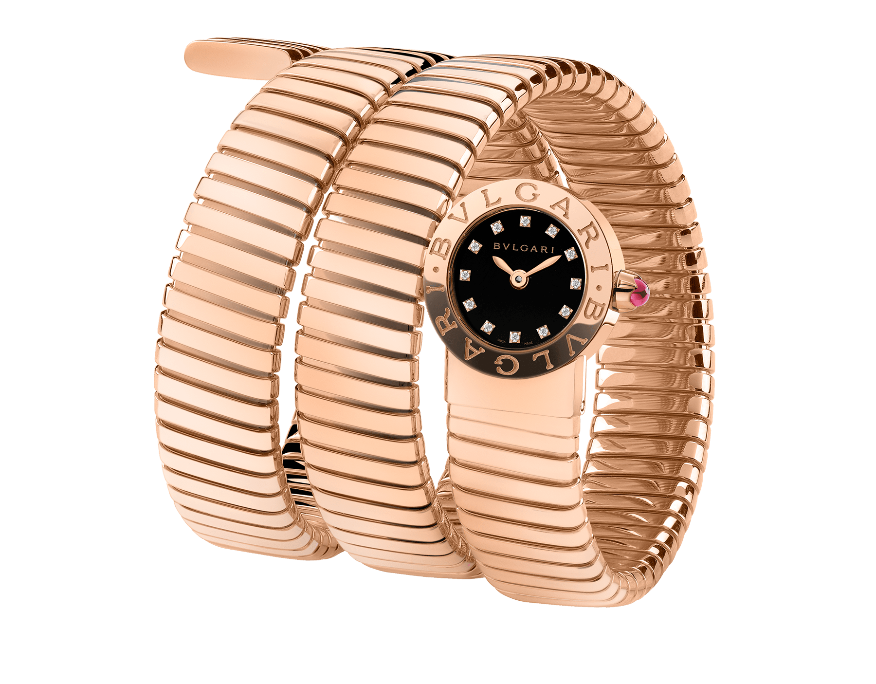 BVLGARI BVLGARI Tubogas watch in 18 kt rose gold case and double spiral bracelet, with black lacquered dial and diamond indexes 102150 image 1