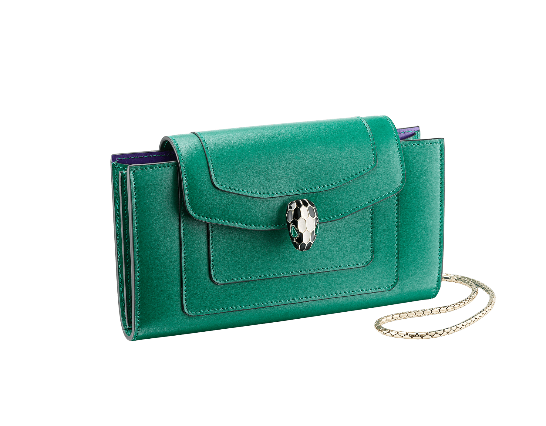 """Serpenti Forever"" device case in black and emerald green calf leather. Light gold-plated brass snakehead closure in black and white agate enamel with green malachite eyes. SEA-TECHNOHYBRIDL image 1"