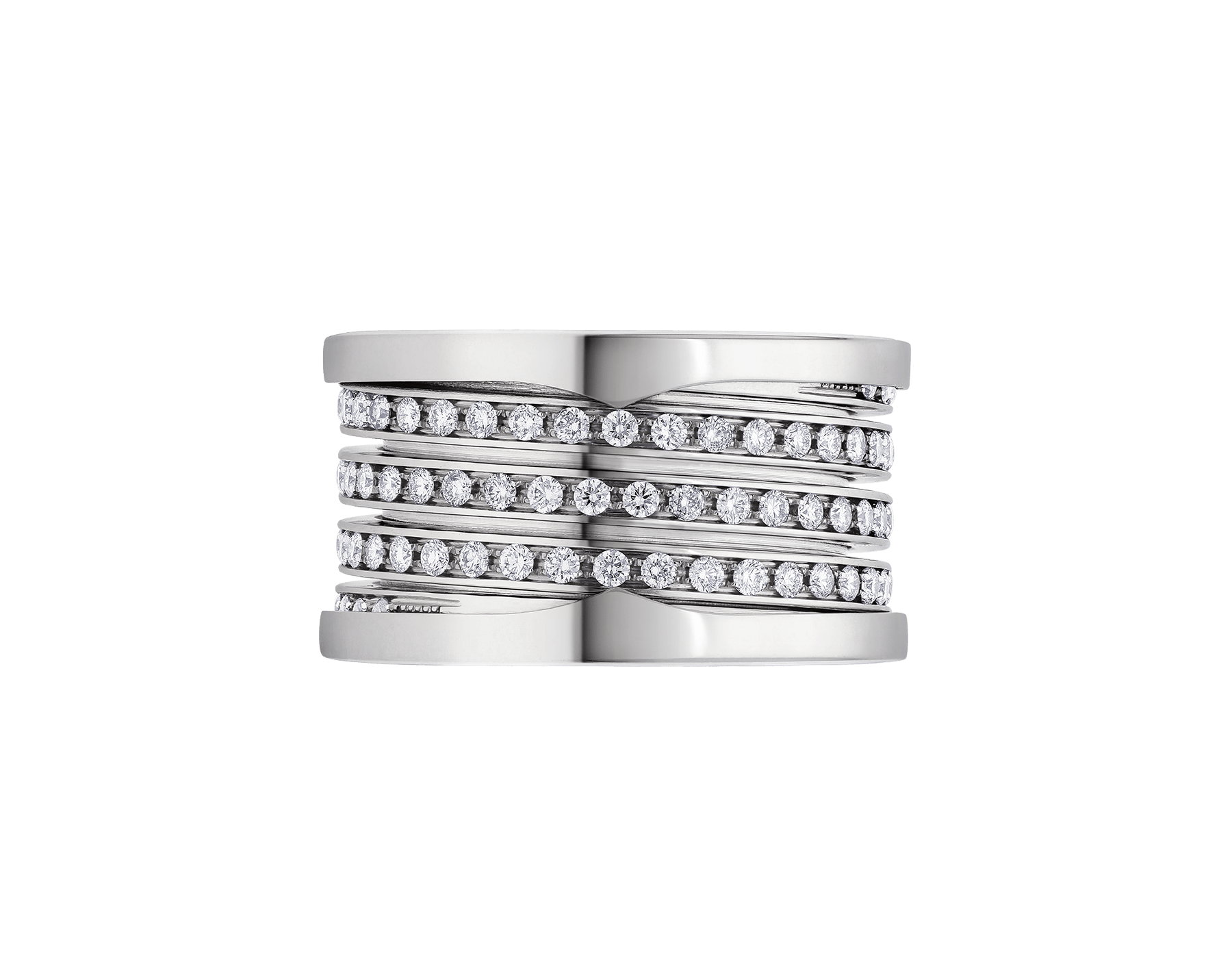 B.zero1 XXth Anniversary five-band ring in 18 kt white gold, set with pavé diamonds on the spiral. B-zero1-5-bands-AN858666 image 3