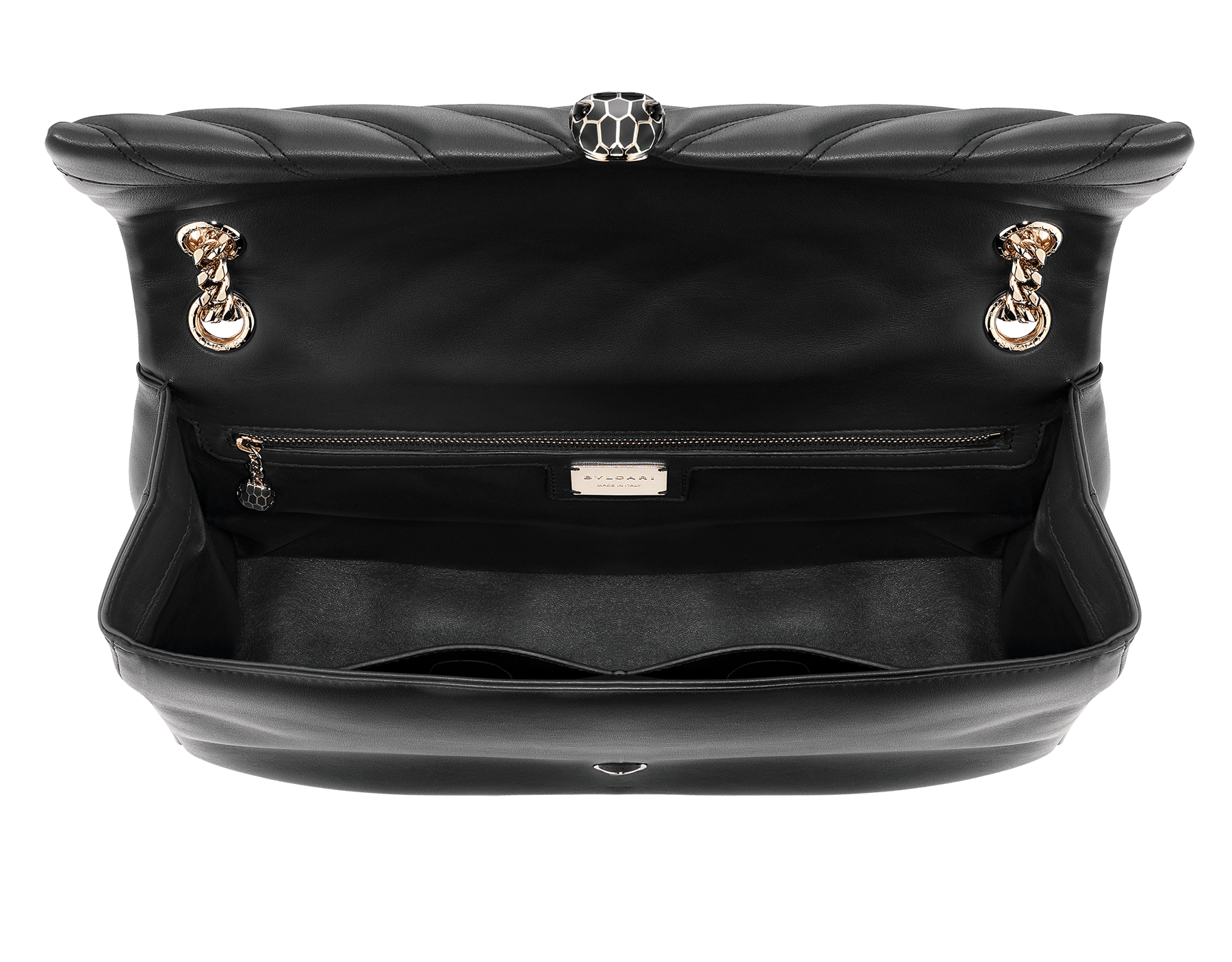 Serpenti Cabochon shoulder bag in soft matelassé black nappa leather with graphic motif and black calf leather. Snakehead closure in rose gold plated brass decorated with matte black and shiny black enamel, and black onyx eyes. 982-NSM image 3
