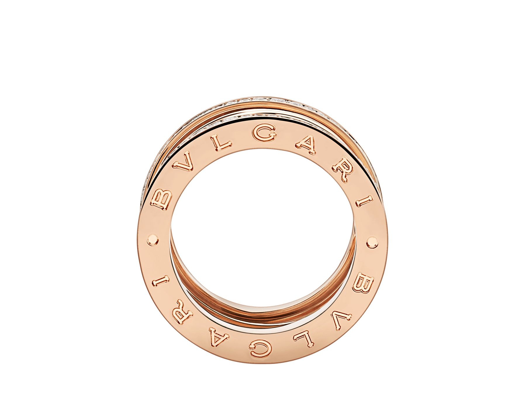 B.zero1 Design Legend four-band ring in 18 kt rose gold set with pavé diamonds (0.61 ct) on the edges. B-zero1-4-bands-AN858125 image 2
