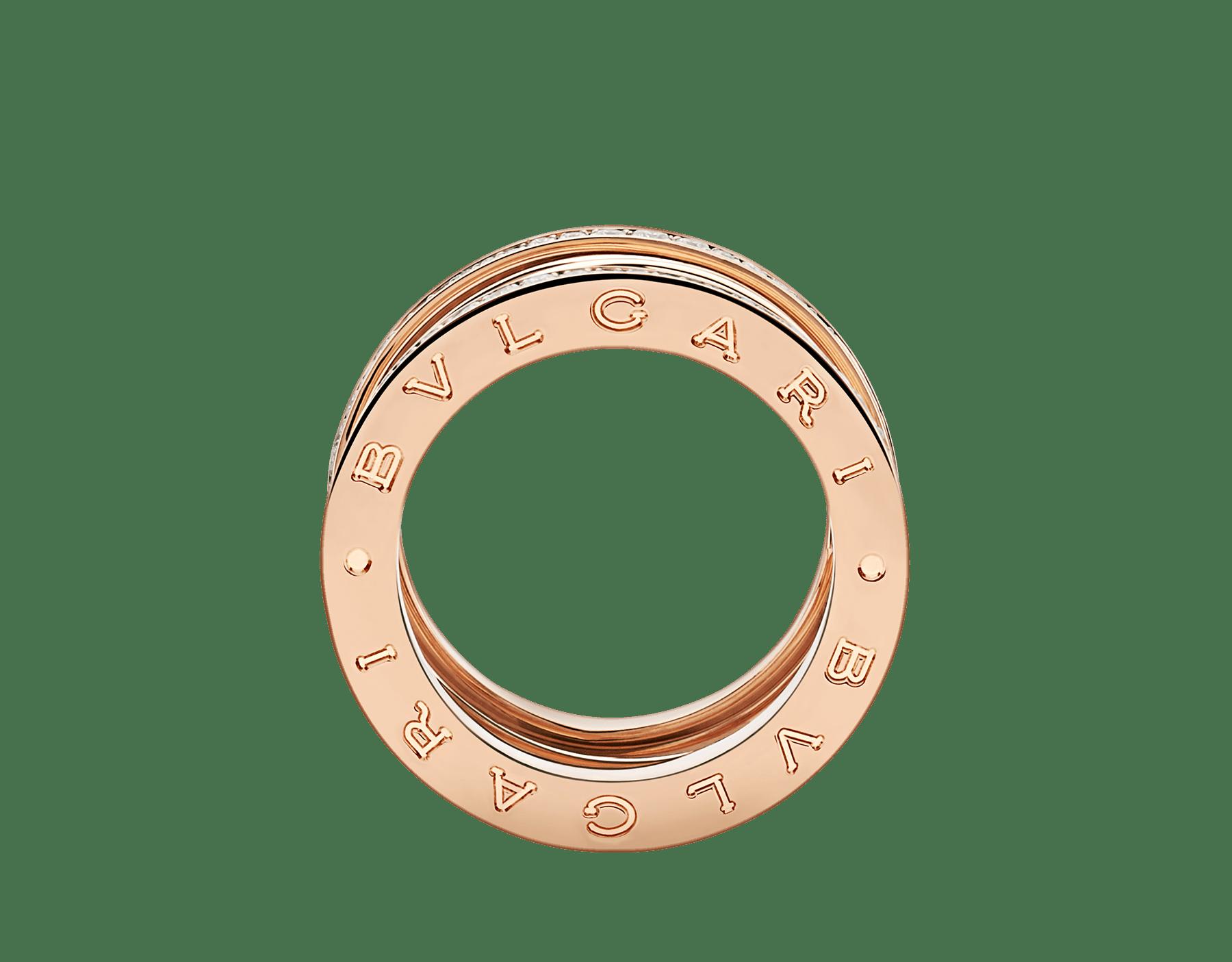 Anel B.zero1 Design Legend de 4 aros em ouro rosa 18K cravejado com pavê de diamantes nas bordas. B-zero1-4-bands-AN858125 image 2