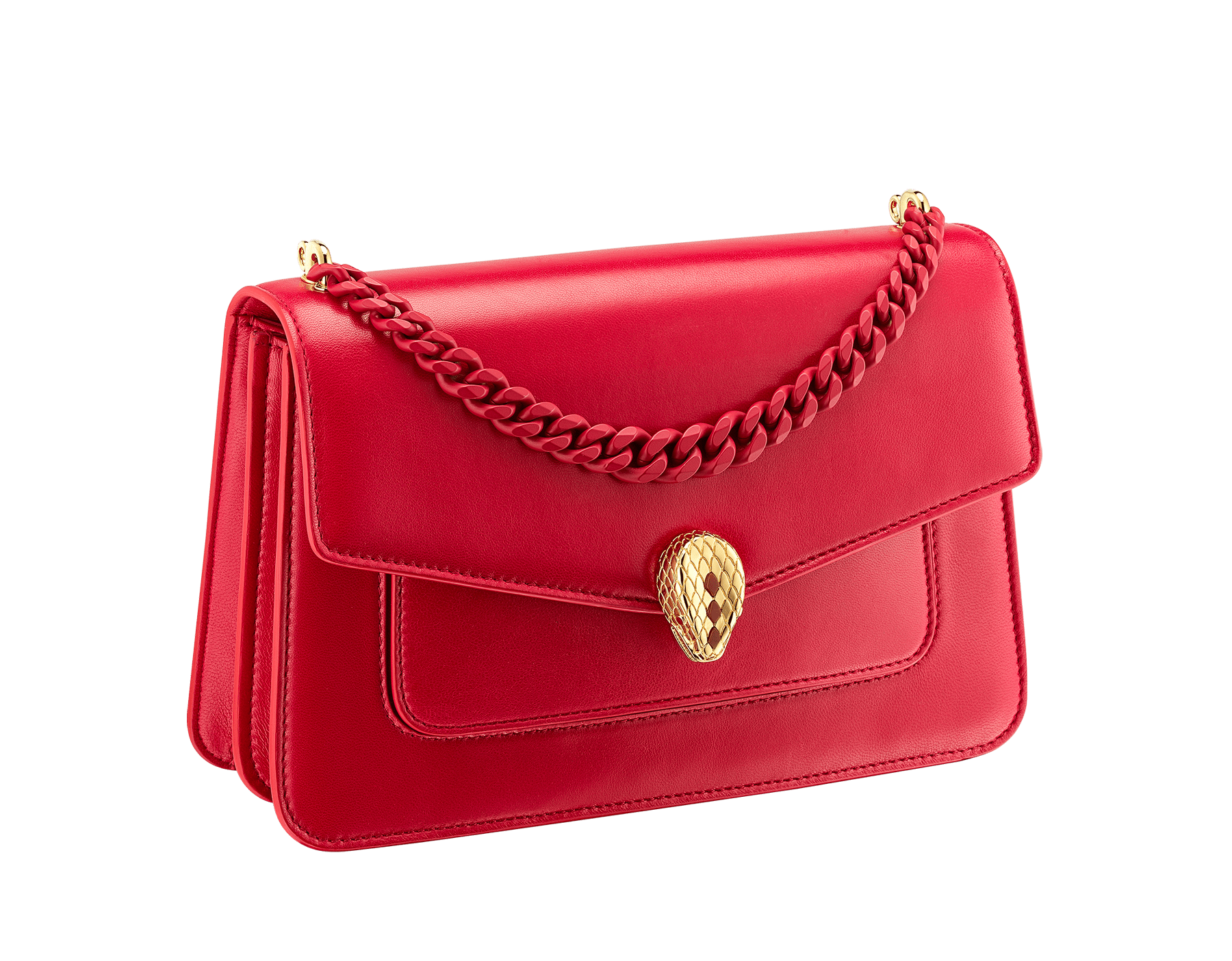 """""""Serpenti Forever"""" maxi chain crossbody bag in Amaranth Garnet red nappa leather, with Pink Spinel fuchsia nappa leather internal lining. New Serpenti head closure in gold plated brass, finished with small red carnelian scales in the middle and red enamel eyes. 1138-MCN image 3"""