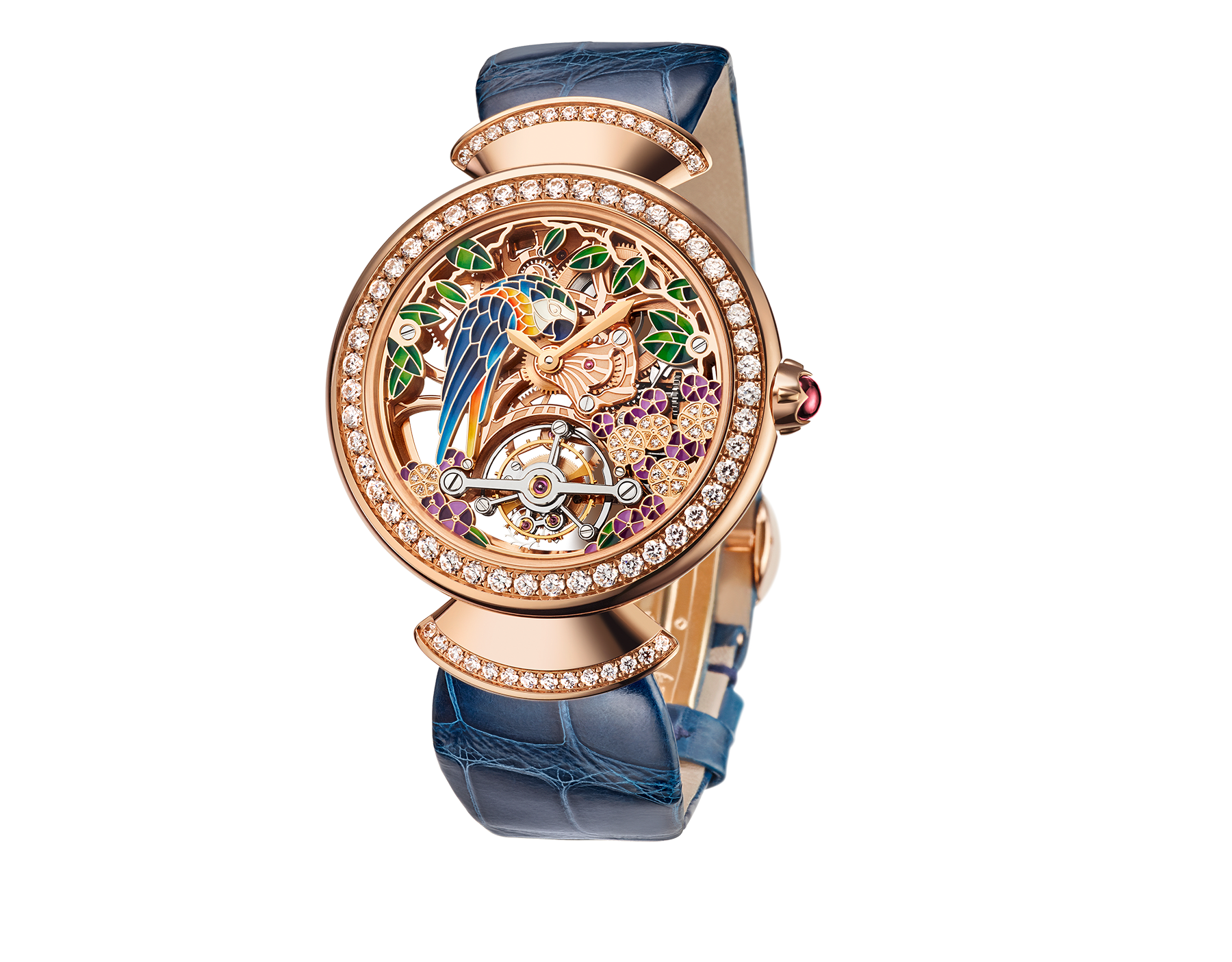 DIVAS' DREAM watch with 18 kt rose gold mechanical manufacture skeletonized movement and tourbillon. 18 kt rose gold case set with brilliant-cut diamonds, dial with hand painted parrot, flowers and leaves set with diamonds and blue alligator bracelet 102542 image 1