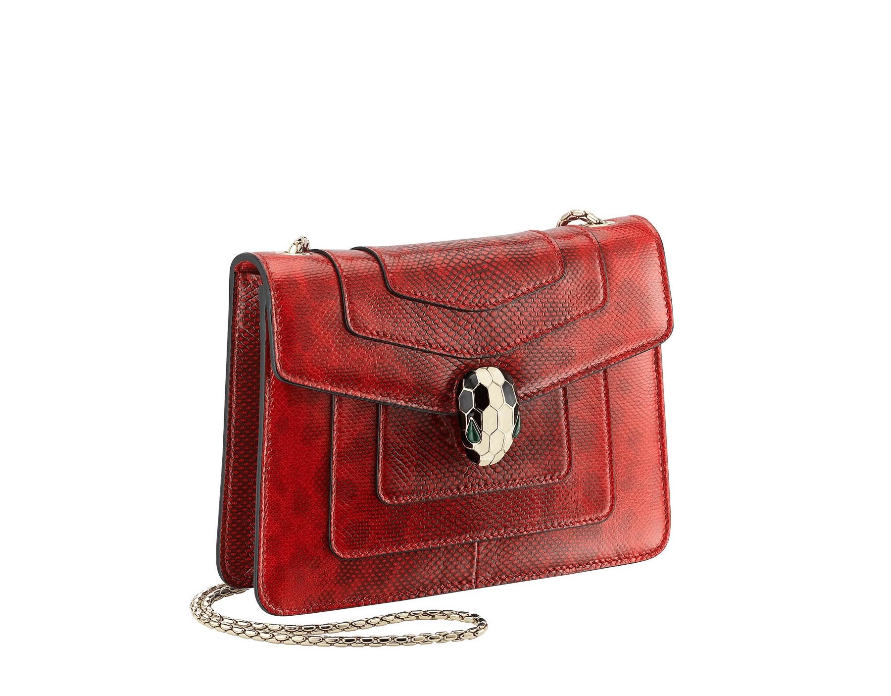 """Serpenti Forever "" crossbody bag in shiny carmine jasper karung skin. Iconic snakehead closure in light gold plated brass enriched with black and white enamel and green malachite eyes 287104 image 2"