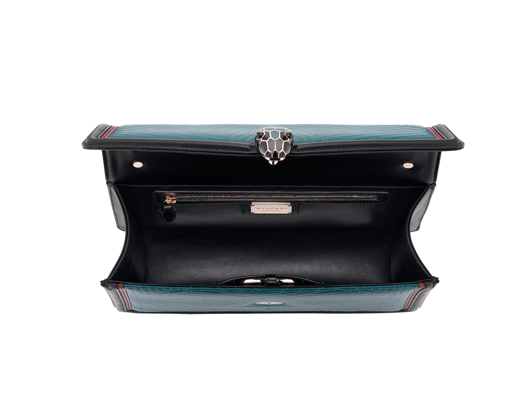 """Serpenti Diamond Blast"" shoulder bag in deep jade quilted nappa leather body and roman garnet and black calf leather frames. Iconic snakehead closure in light gold plated brass enriched with deep jade and black enamel and black onyx eyes. 287973 image 4"