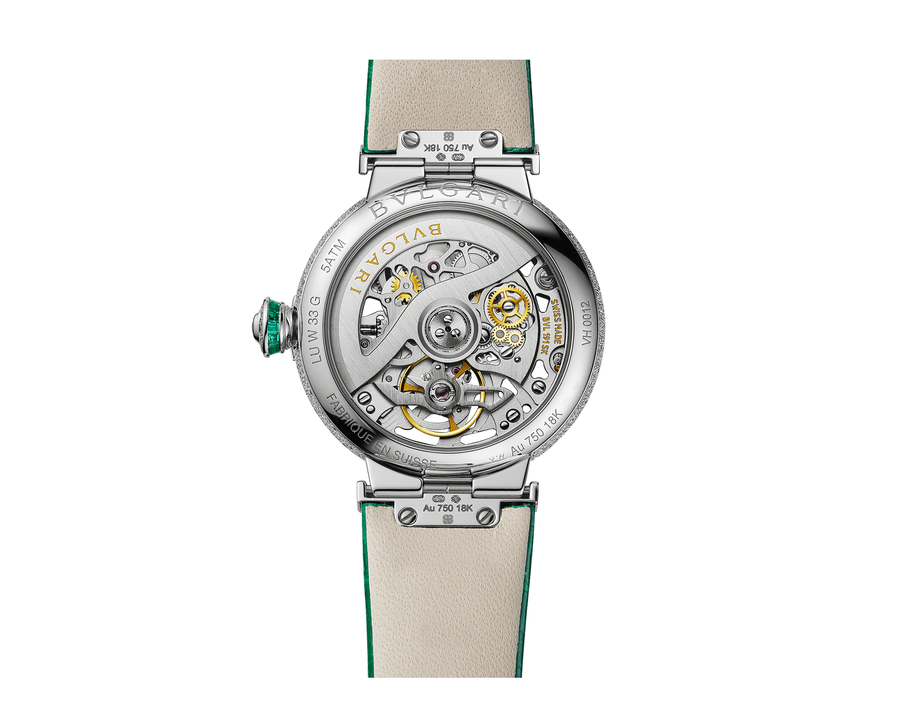LVCEA Skeleton watch with mechanical movement, automatic winding, 18 kt white gold case set with baguette-cut emeralds, 18 kt white gold openwork BVLGARI logo dial set with brilliant-cut diamonds, green alligator bracelet and 18 kt white gold links set with brilliant-cut diamonds 103033 image 4