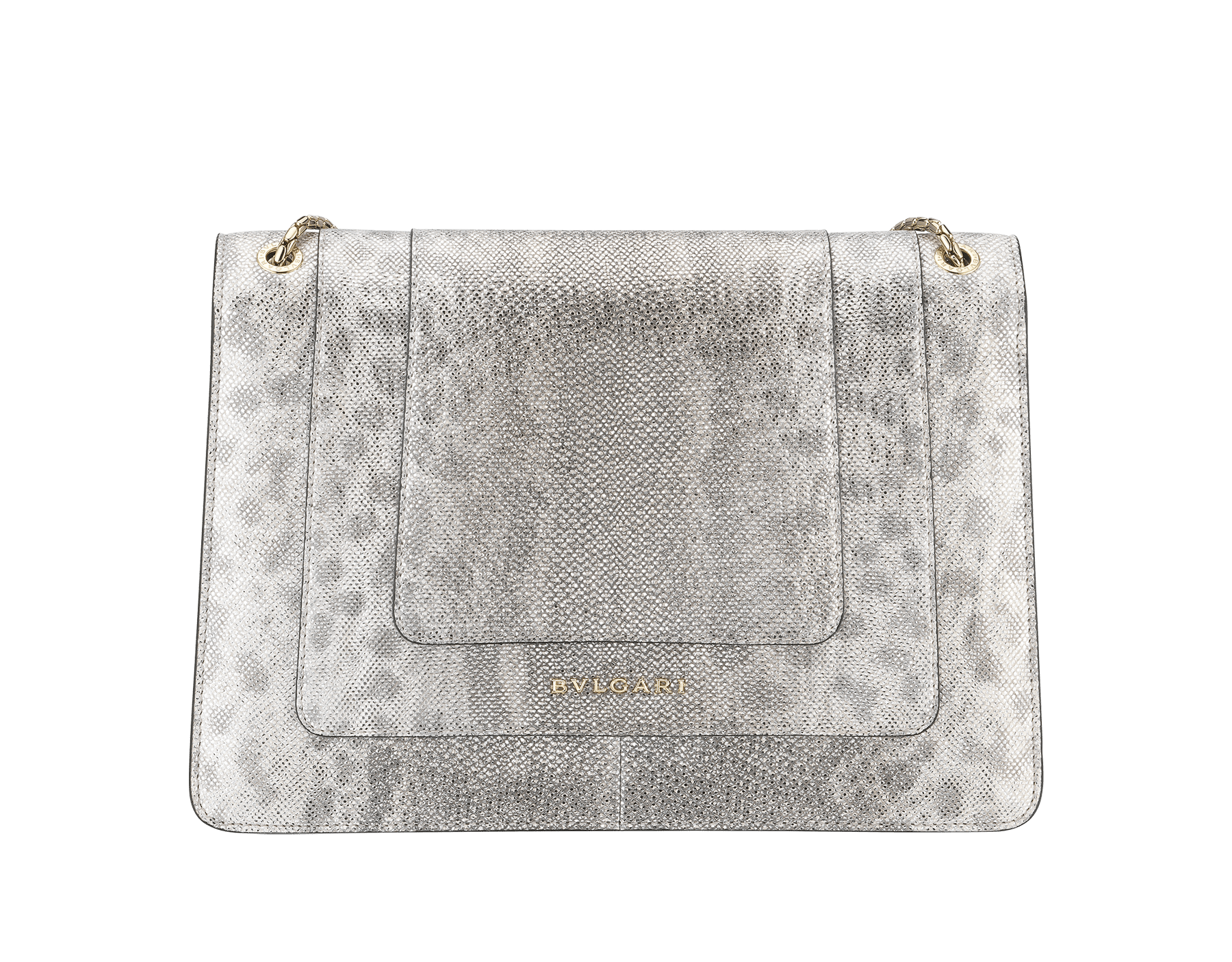 """Serpenti Forever"" shoulder bag in white agate metallic karung skin. Iconic snakehead closure in light gold plated brass enriched with black and white agate enamel and black onyx eyes. 288797 image 3"