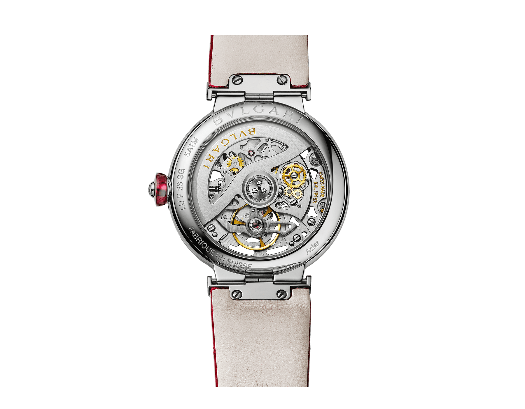 LVCEA Skeleton watch with mechanical manufacture movement, automatic winding, stainless steel case, openwork BVLGARI logo dial and red alligator bracelet 102879 image 3