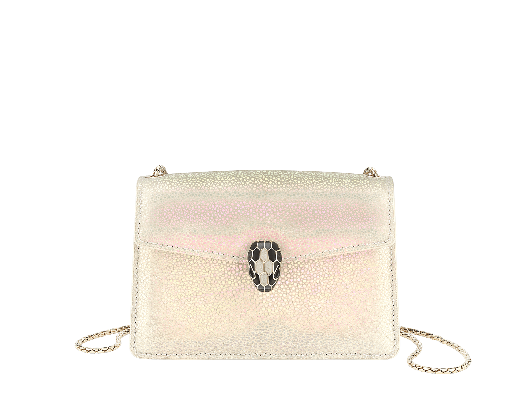 """Serpenti Forever"" mini crossbody bag in pearly, iridescent Milky Opal beige galuchat skin with agate-white calfskin edges and black nappa leather inner lining. Alluring snakehead closure in light gold-plated brass enriched with black and pearly, agate-white enamel and black onyx eyes. 289938 image 1"