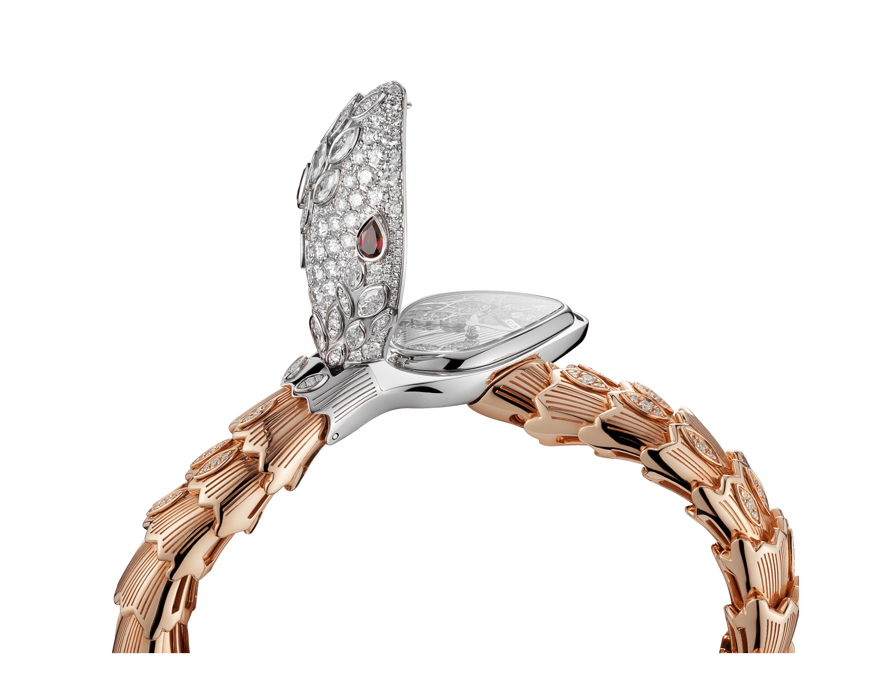 Serpenti Secret Watch with 18 kt white gold head set with brilliant cut and marquise cut diamonds and ruby eyes, 18 kt white gold case, 18 kt white gold dial set with brilliant cut diamonds, single spiral bracelet in 18 kt rose and white gold, set with brilliant cut diamonds. 102239 image 3