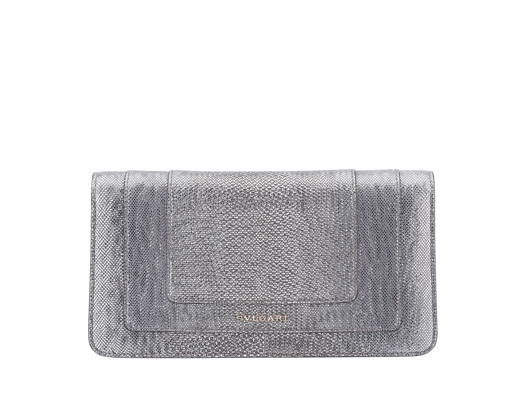 Serpenti Forever shoulder bag in charcoal diamond metallic karung skin. Snakehead closure in light gold plated brass decorated with shiny black and glitter charcoal diamond enamel, and black onyx eyes. 287945 image 3