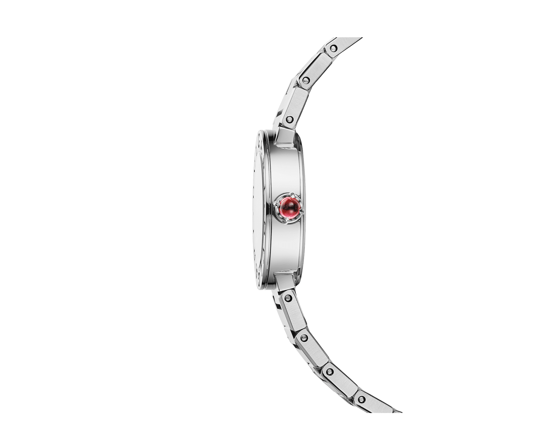 BVLGARI BVLGARI LADY watch in stainless steel case and bracelet, stainless steel bezel engraved with double logo, white mother-of-pearl dial and diamond indexes 103095 image 3
