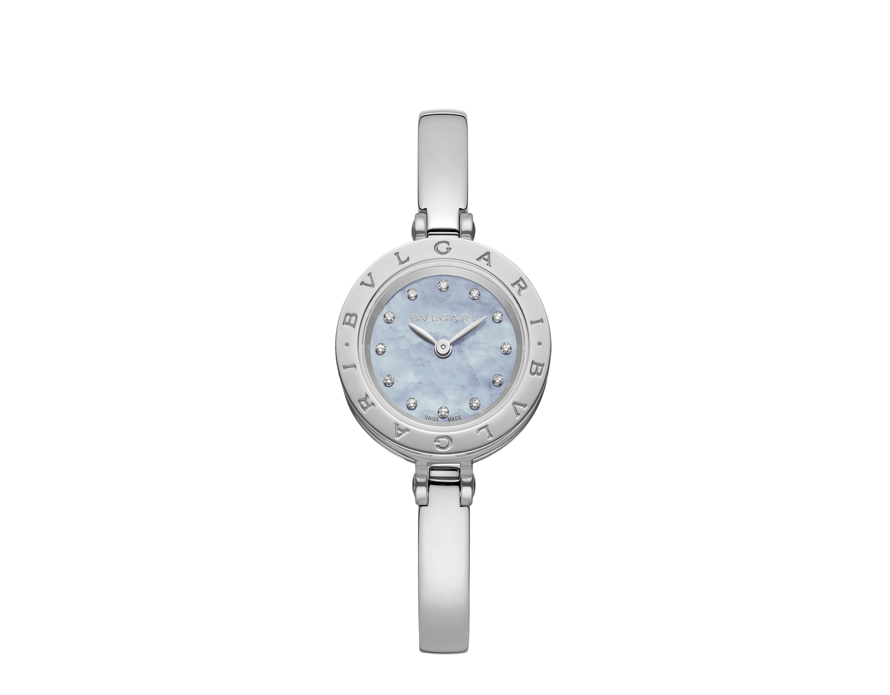 B.zero1 watch with stainless steel case, blue mother-of-pearl dial set with diamond indexes and stainless steel bangle. Medium size. B01watch-white-white-dial2 image 4