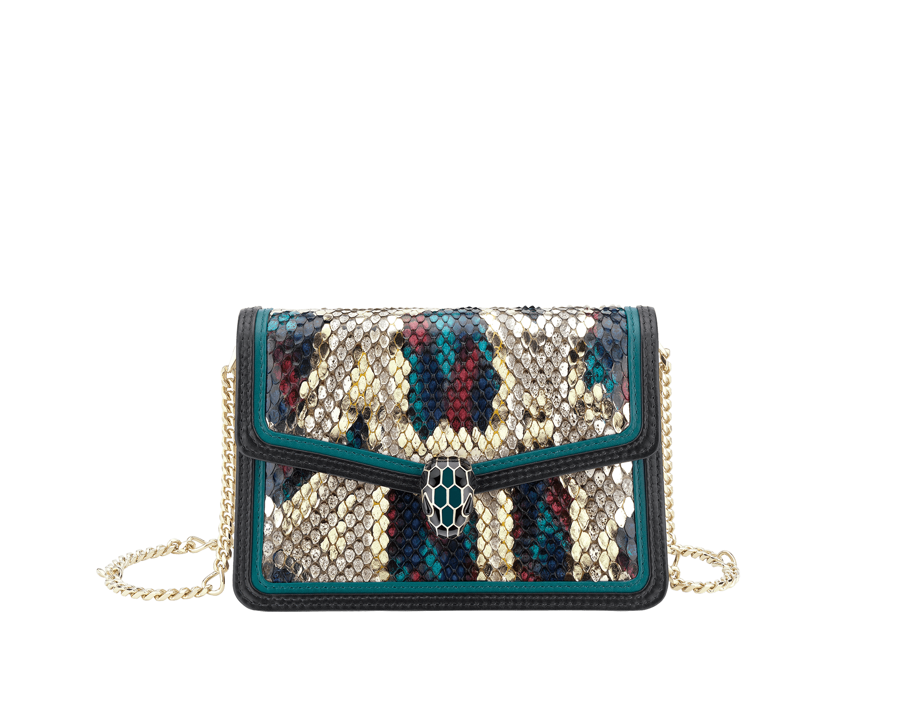 """Serpenti Diamond Blast"" crossbody micro bag in white agate Lunar python skin body and deep jade and black calf leather frames. Iconic snakehead closure in light gold plated brass enriched with deep jade and black enamel and black onyx eyes. 288266 image 1"