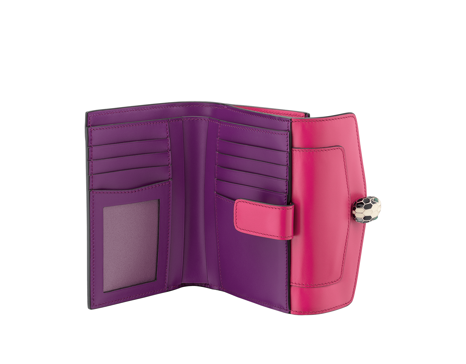 Serpenti Forever compact pochette in jazzy tourmaline and aster amethyst calf leather. Iconic snakehead stud closure in black and white enamel, with green malachite eyes. 287142 image 2