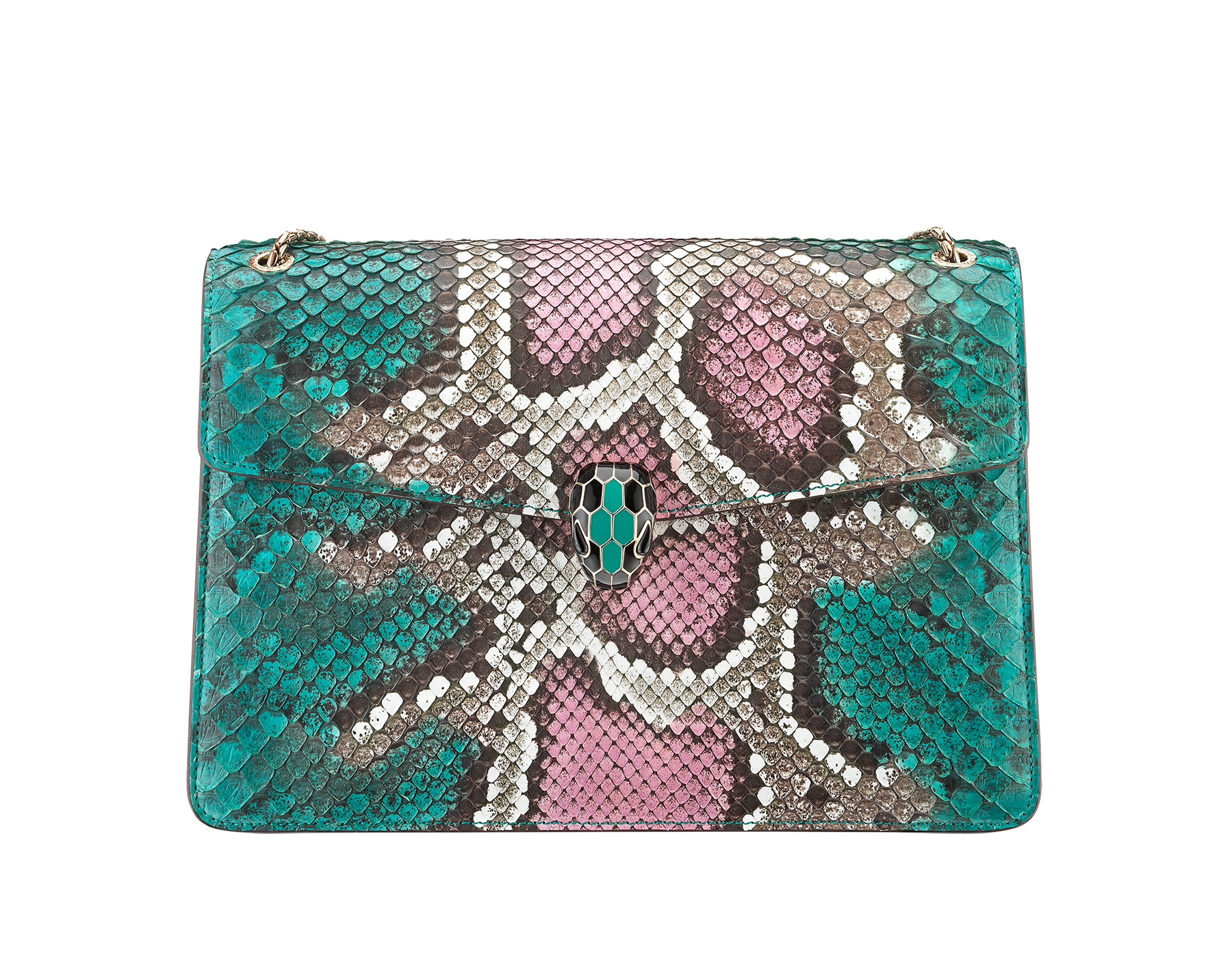 Serpenti Forever shoulder bag in arctic jade Psiche python skin. Iconic snakehead closure in light gold plated brass embellished with black and arctic jade enamel and black onyx eyes. 288939 image 1