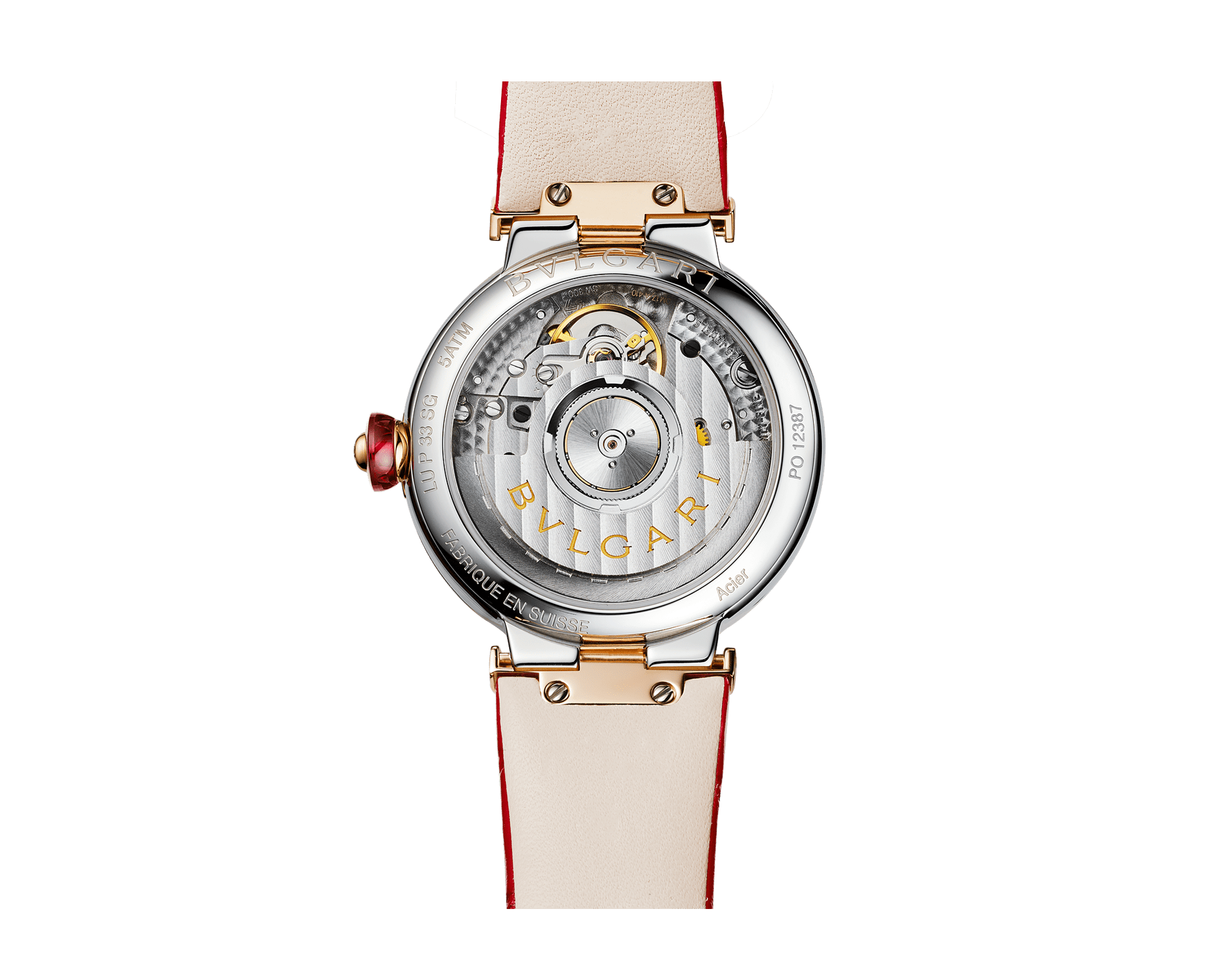 LVCEA watch with stainless steel case, 18 kt rose gold bezel, white mother-of-pearl dial, diamond indexes and fuchsia leather bracelet 102997 image 3