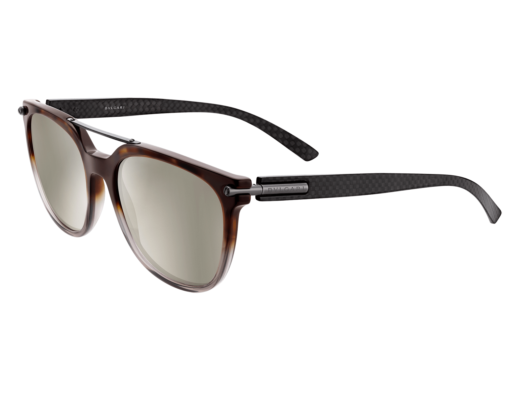 Bulgari Diagono squared acetate sunglasses with metal double bridge and carbon fiber arms. 903908 image 1
