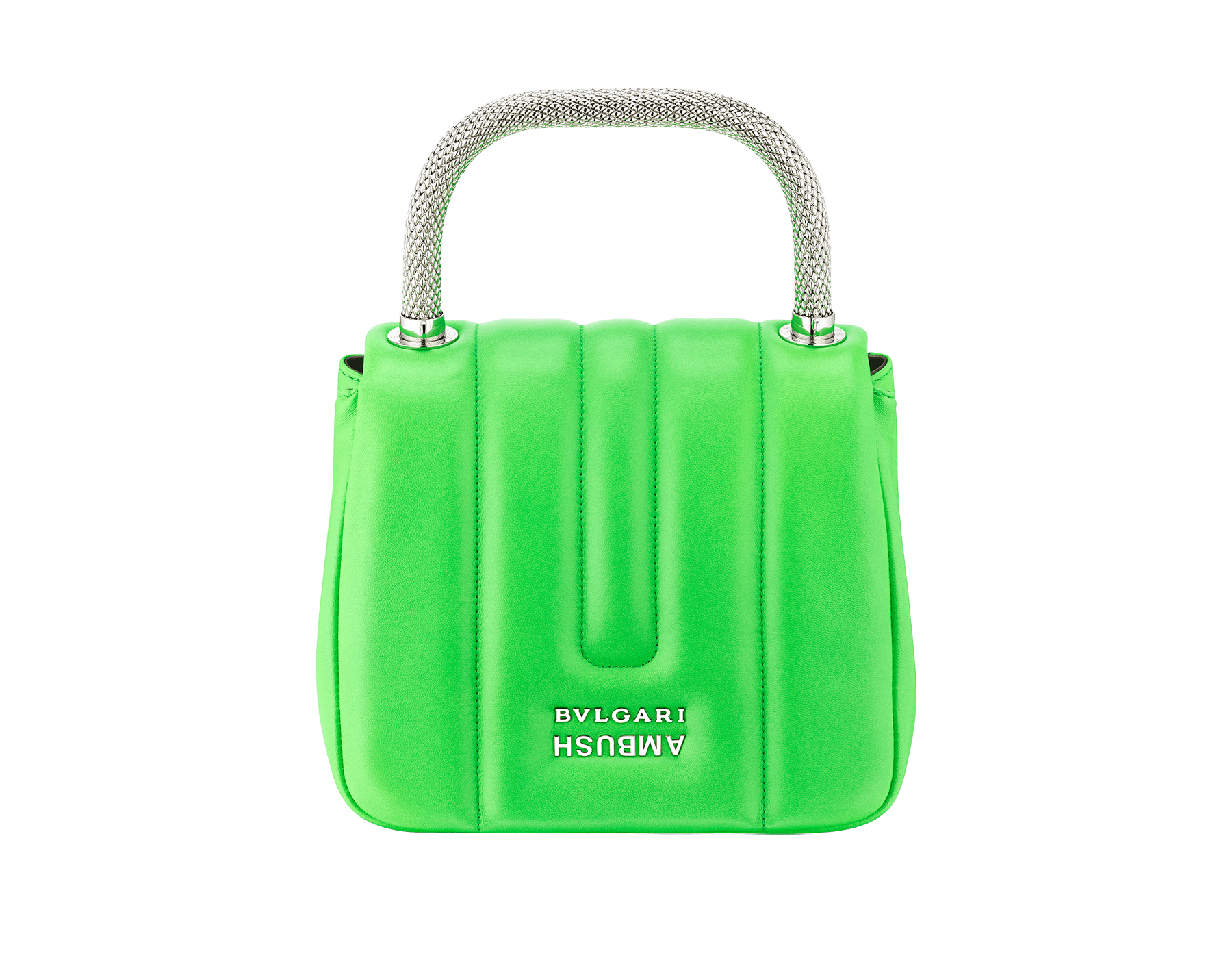 """Ambush x Bvlgari"" top handle bag in bright green nappa leather. New Serpenti head closure in palladium plated brass dressed with bright green nappa leather, finished with seductive black onyx eyes. Limited edition. 290346 image 3"