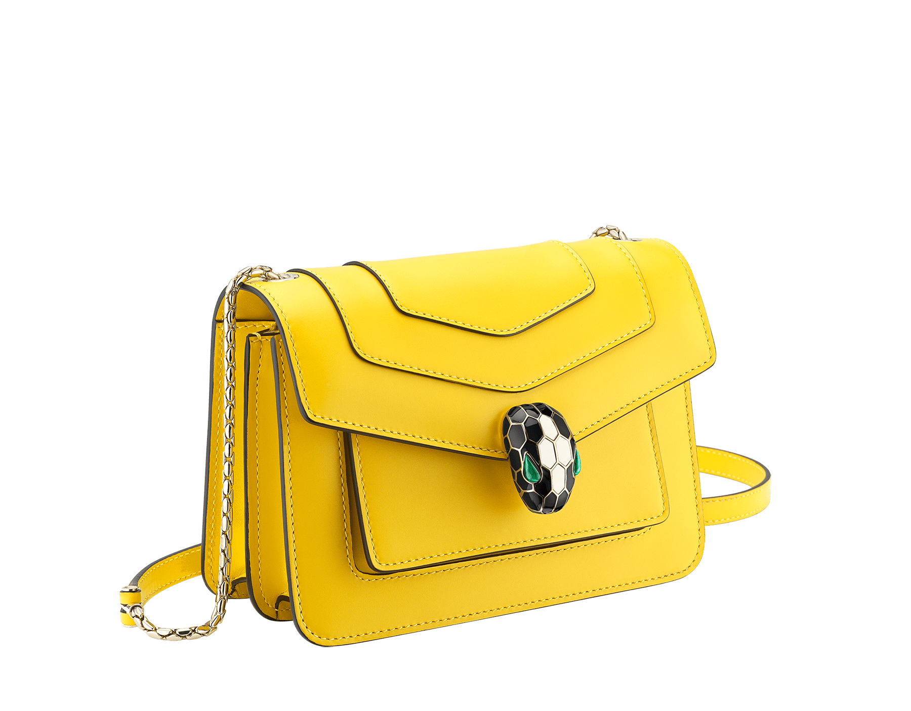 """Serpenti Forever"" crossbody bag in daisy topaz calf leather. Iconic snake head closure in light gold plated brass enriched with black and white enamel and green malachite eyes. 289672 image 2"