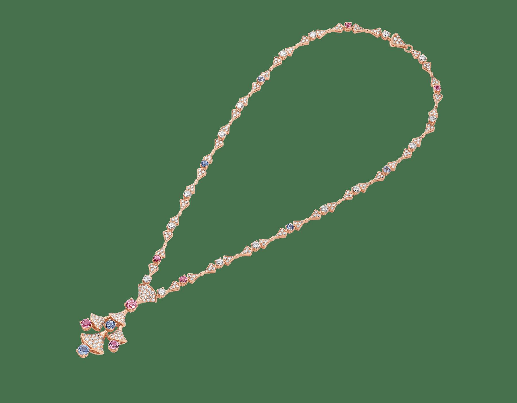 DIVAS' DREAM 18 kt rose gold necklace set with round brilliant-cut diamonds (3.06 ct), brilliant-cut spinels (4.04 ct) and pavé diamonds (3.63 ct) 357942 image 2