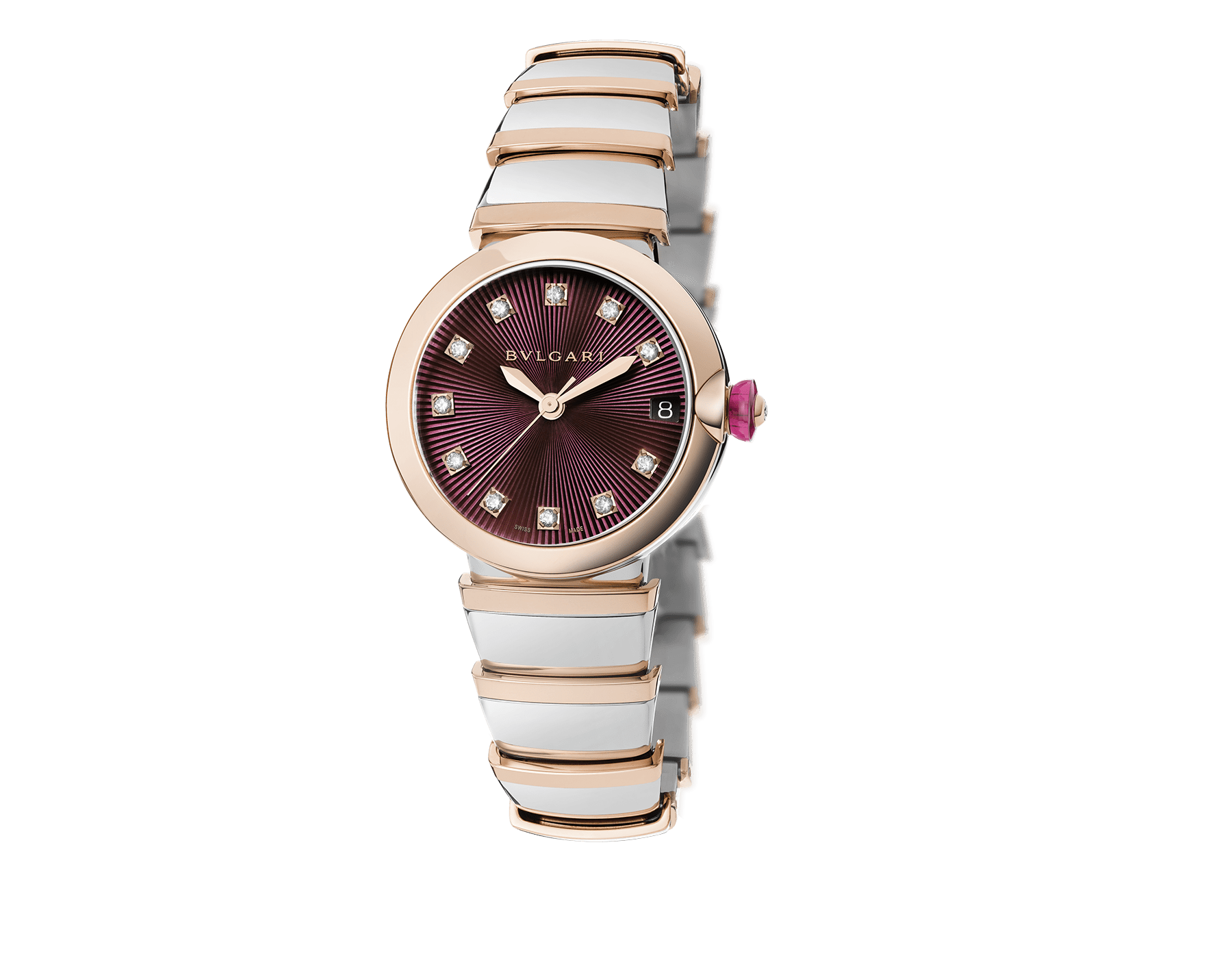 LVCEA watch in stainless steel and 18 kt rose gold case and bracelet, with violet dial and diamond indexes. 102497 image 1