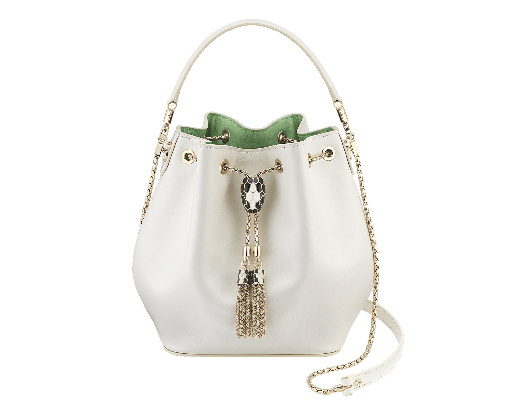 """Serpenti Forever"" bucket in white agate smooth calf leather and mint nappa internal lining. Hardware in light gold plated brass and snakehead closure in black and white agate enamel, with eyes in black onyx. 934-CLa image 1"
