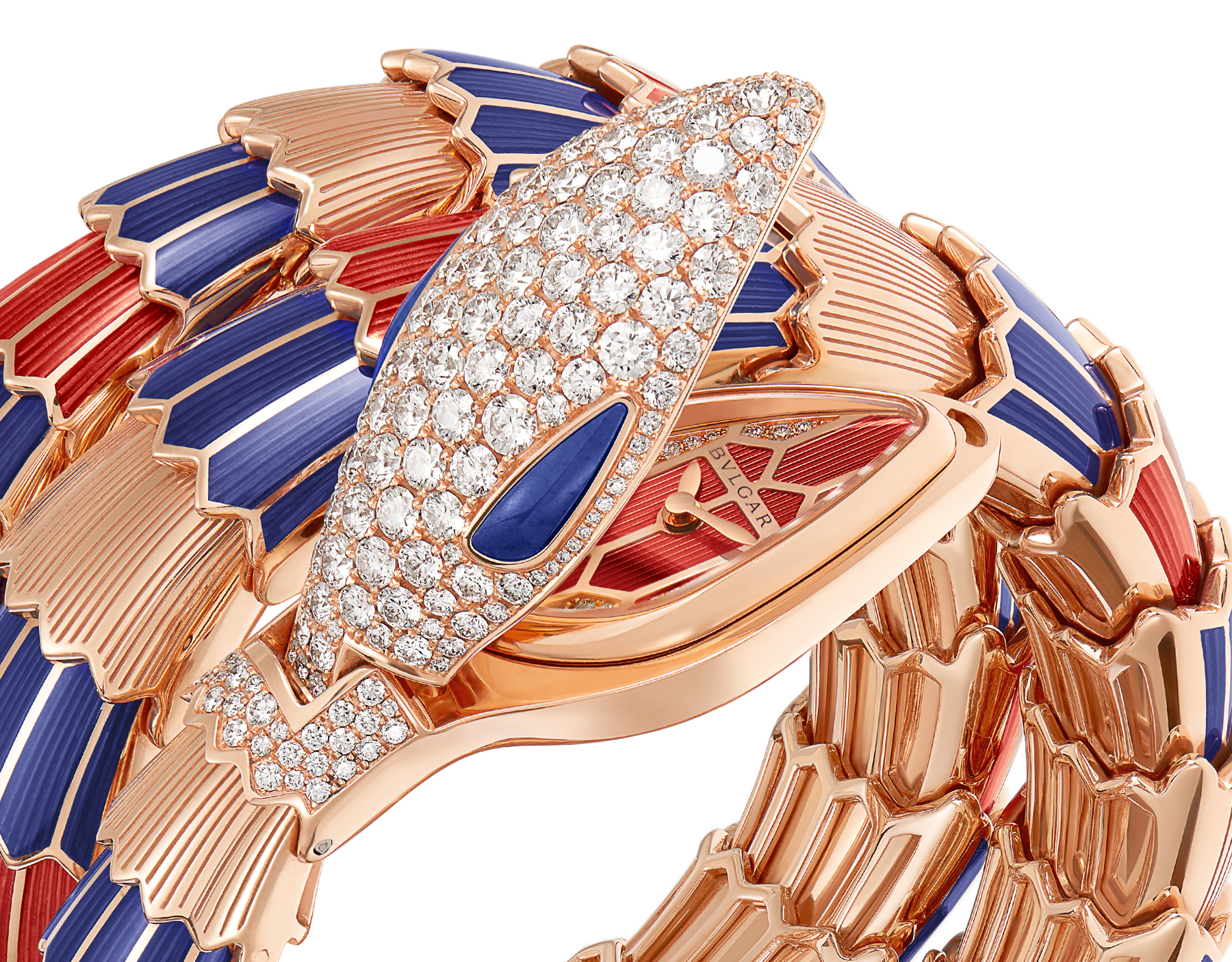 Serpenti Secret Watch with 18 kt rose gold head set with pavé diamonds and lapis lazuli eyes, 18 kt rose gold case, 18 kt rose gold dial set with brilliant cut diamonds, 18 kt rose gold double spiral bracelet coated with blue and red lacquer and set with pavé diamonds. 102445 image 2