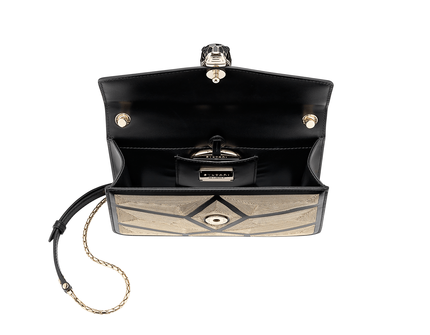 """Serpenti Forever"" crossbody bag in black calf leather with a Million Chain motif. Iconic snake head closure in light gold plated brass enriched with black enamel and black onyx eyes. 288909 image 4"