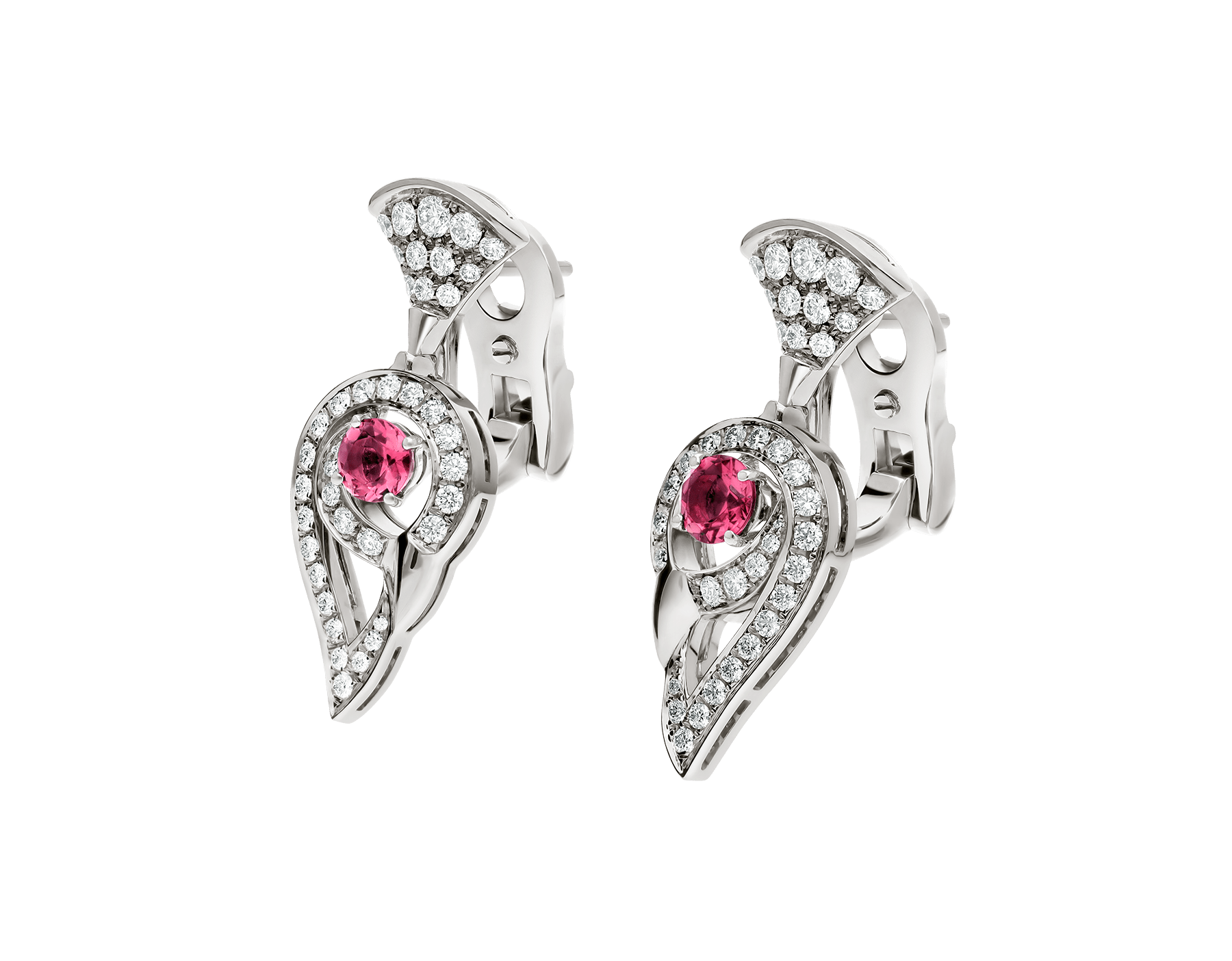 DIVAS' DREAM earrings in 18 kt white gold set with pink rubellite (0.75 ct) and pavé diamonds (1.10 ct). 354082 image 2
