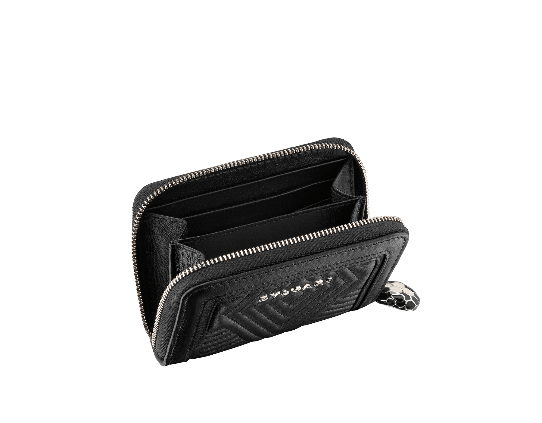 Serpenti Diamond Blast mini zipped wallet in black quilted nappa leather. Iconic snakehead zip puller in black and white enamel, with black enamel eyes. 287584 image 2