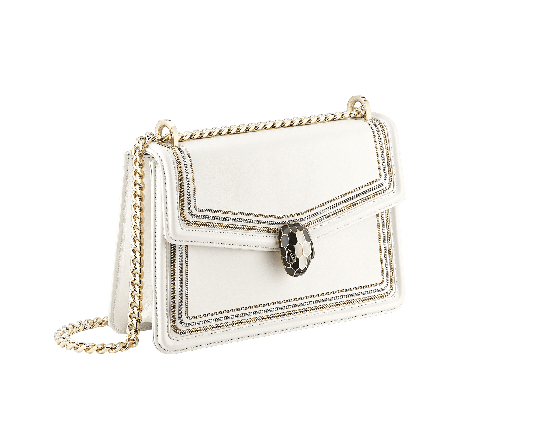 """""""Serpenti Diamond Blast"""" shoulder bag in black smooth calf leather, featuring a 3-Chain motif in light gold and palladium finishing. Iconic snakehead closure in light gold plated brass enriched with black and white enamel and black onyx eyes 922-3CFCL image 2"""
