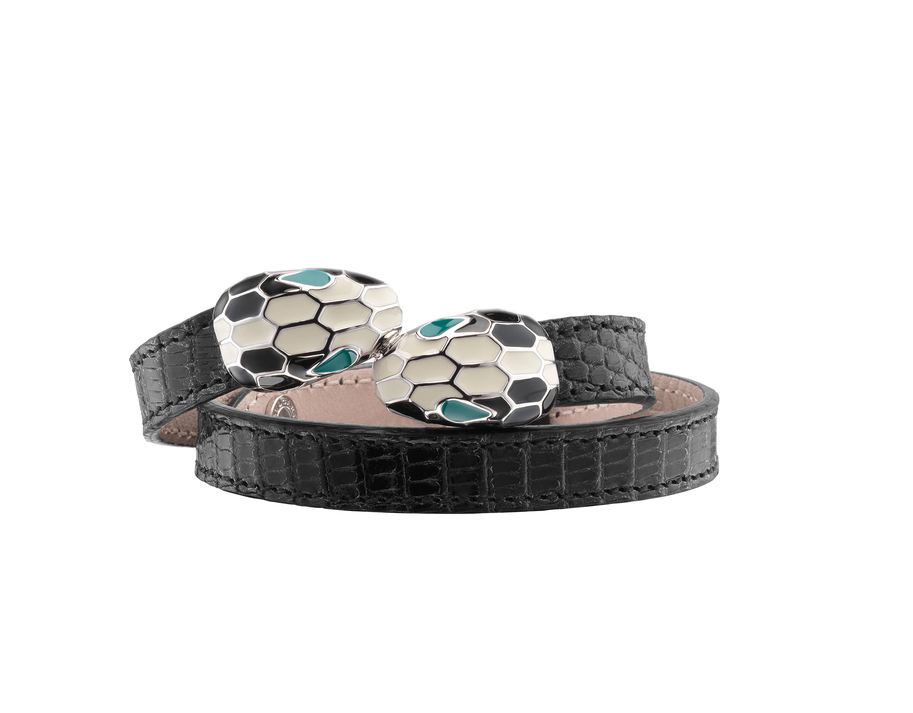 Multi-coiled bracelet in black shiny lizard skin. Brass palladium plated iconic contraire Serpenti head closure in black and white enamel with malachite enamel eyes. Also available in other colours. MCSerp-SL-B image 1