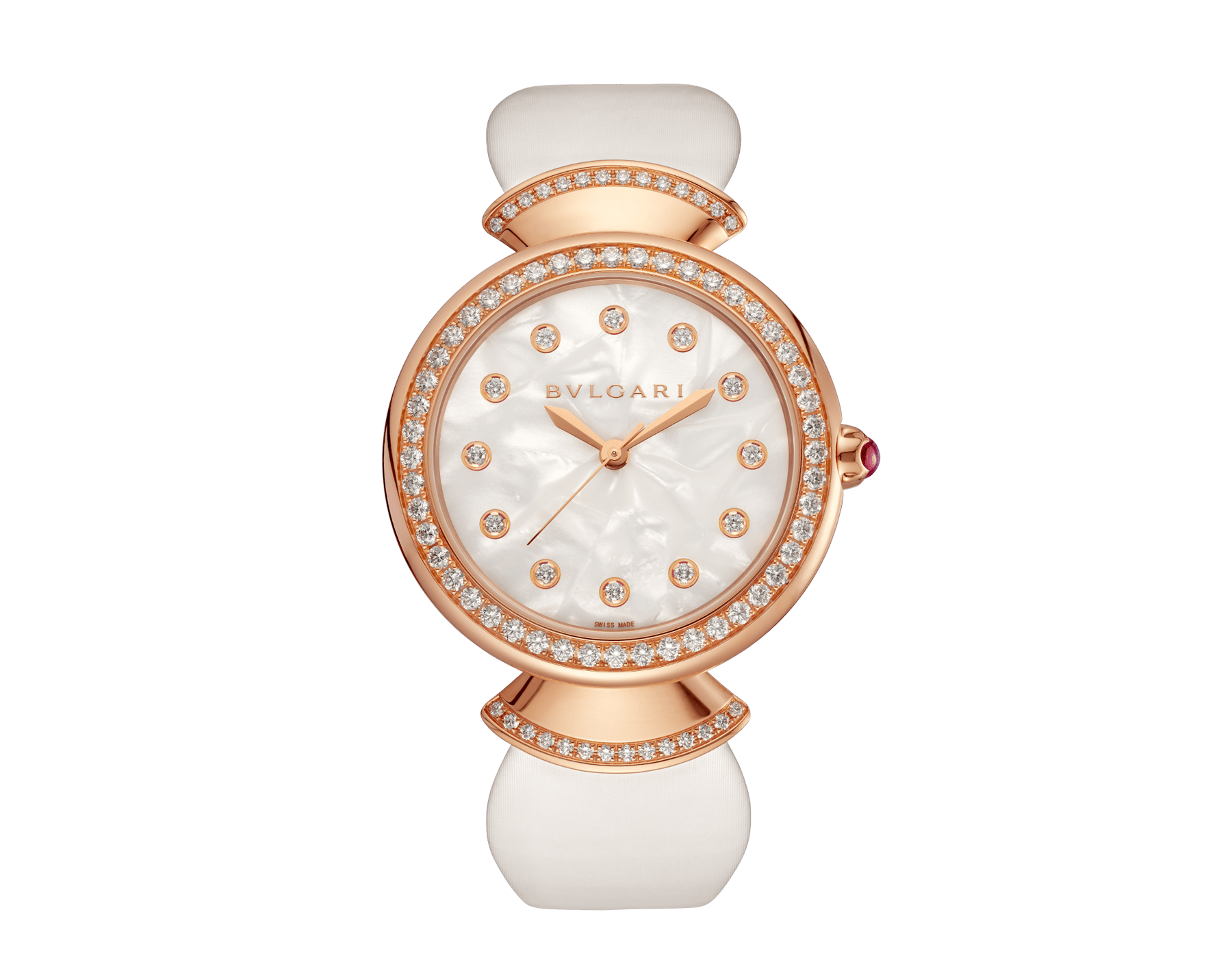 DIVAS' DREAM watch with 18 kt rose gold case set with brilliant-cut diamonds, acetate dial, diamond indexes and white satin bracelet 102575 image 1