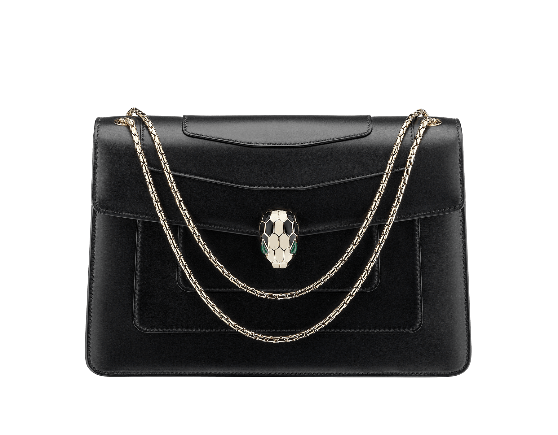 Black calf leather shoulder bag with brass light gold plated black and white enamel Serpenti head closure with malachite eyes. 521-CLa image 1