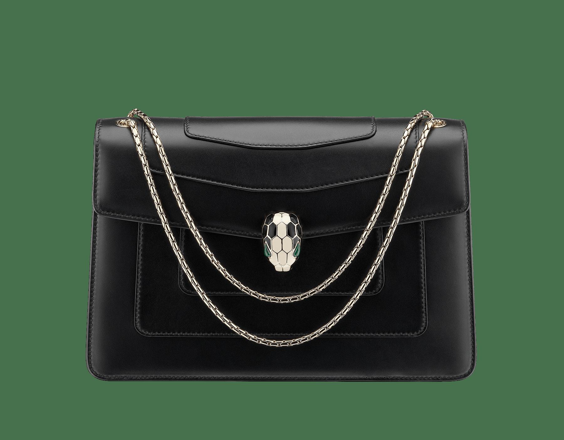 黑色小牛皮肩包,淡銅金色「Serpenti」蛇頭扣環飾以黑白色琺瑯,雙眼鑲嵌孔雀石。 521-CLa image 1