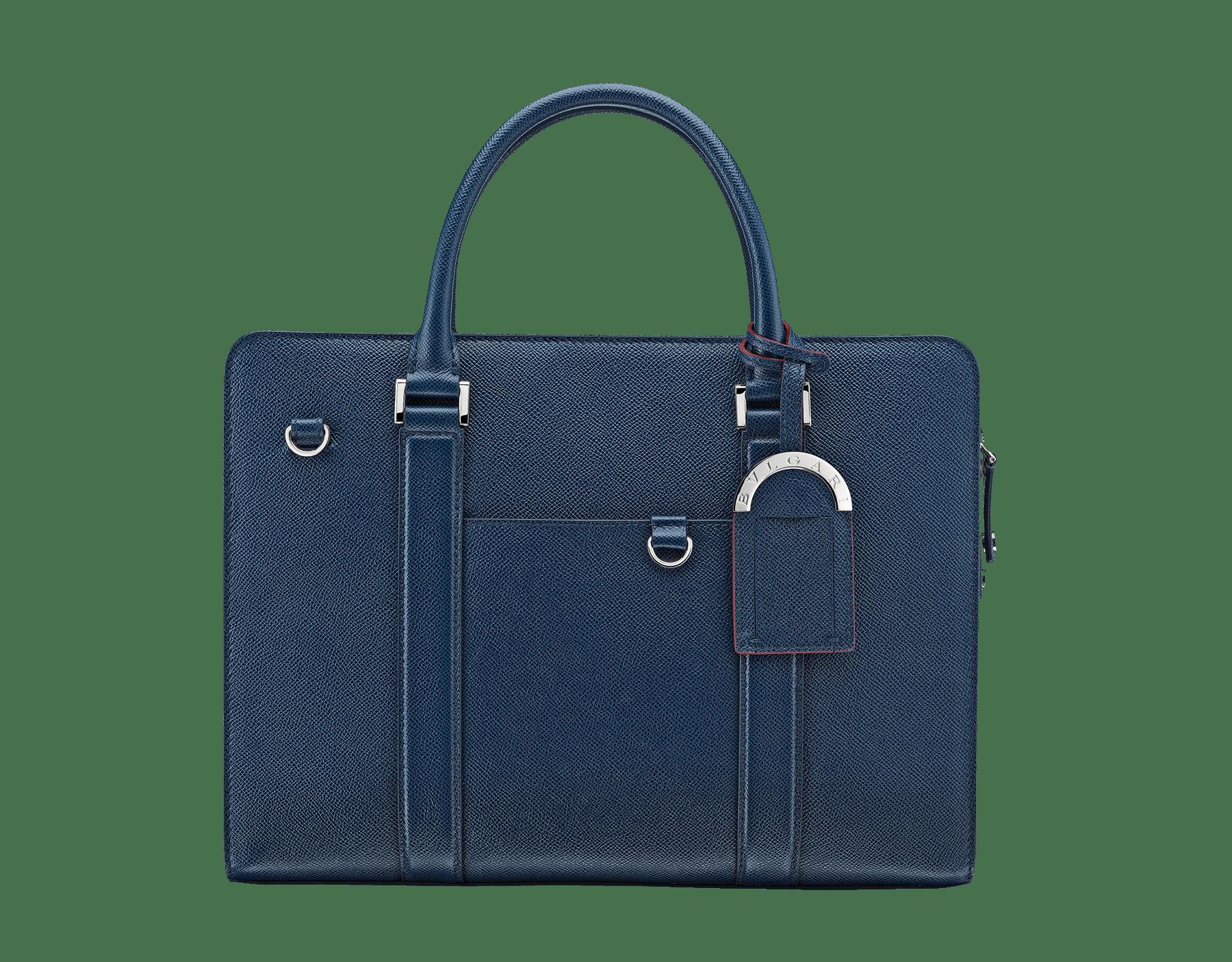 """BVLGARI BVLGARI"" zipped briefcase in mimetic jade grain calf leather with brass palladium plated hardware. BBM-001-0655S image 1"
