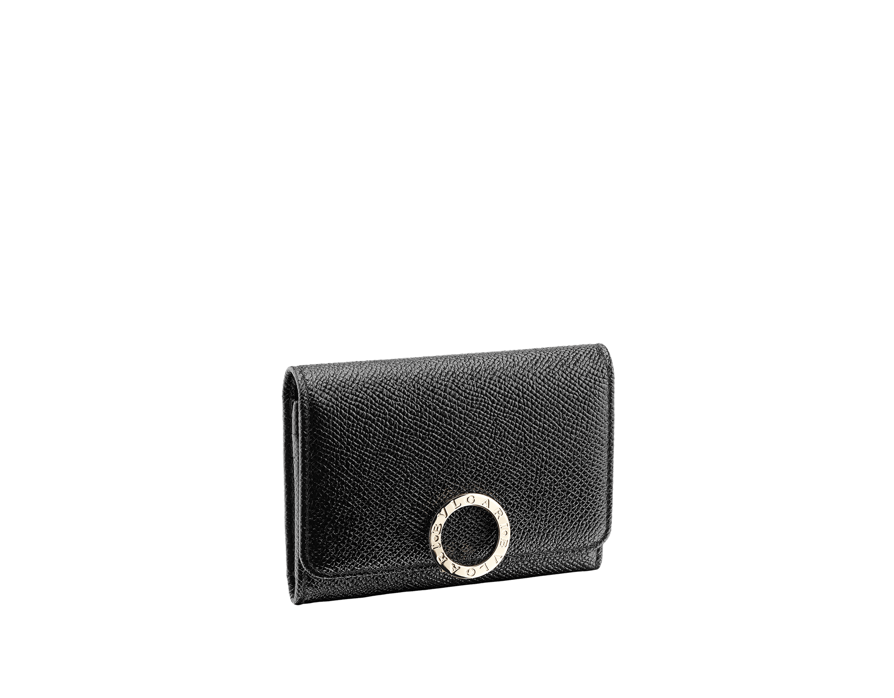 Business card holder in black bright grain calf leather and black nappa lining. Iconic brass light gold plated clip featuring the Bulgari Bulgari motif. 280520 image 1